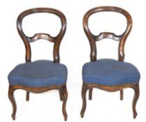 Pair of Victorian mahogany balloon back dining chairs