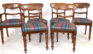 Set of six Victorian mahogany bar back dining chairs, comprising one carver and five single chairs
