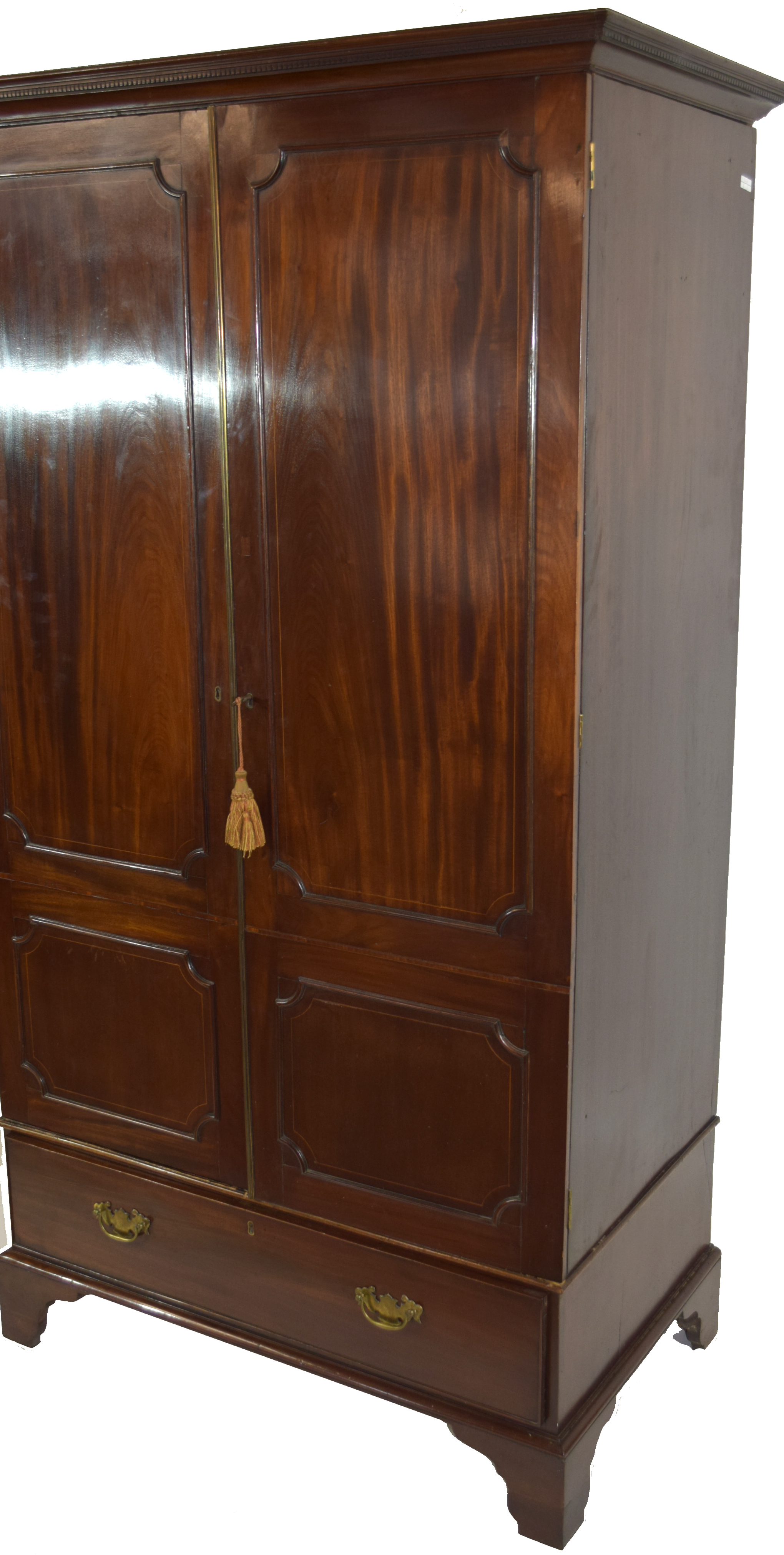 19th century mahogany wardrobe with moulded cornice over two panelled doors and single drawer - Image 2 of 6