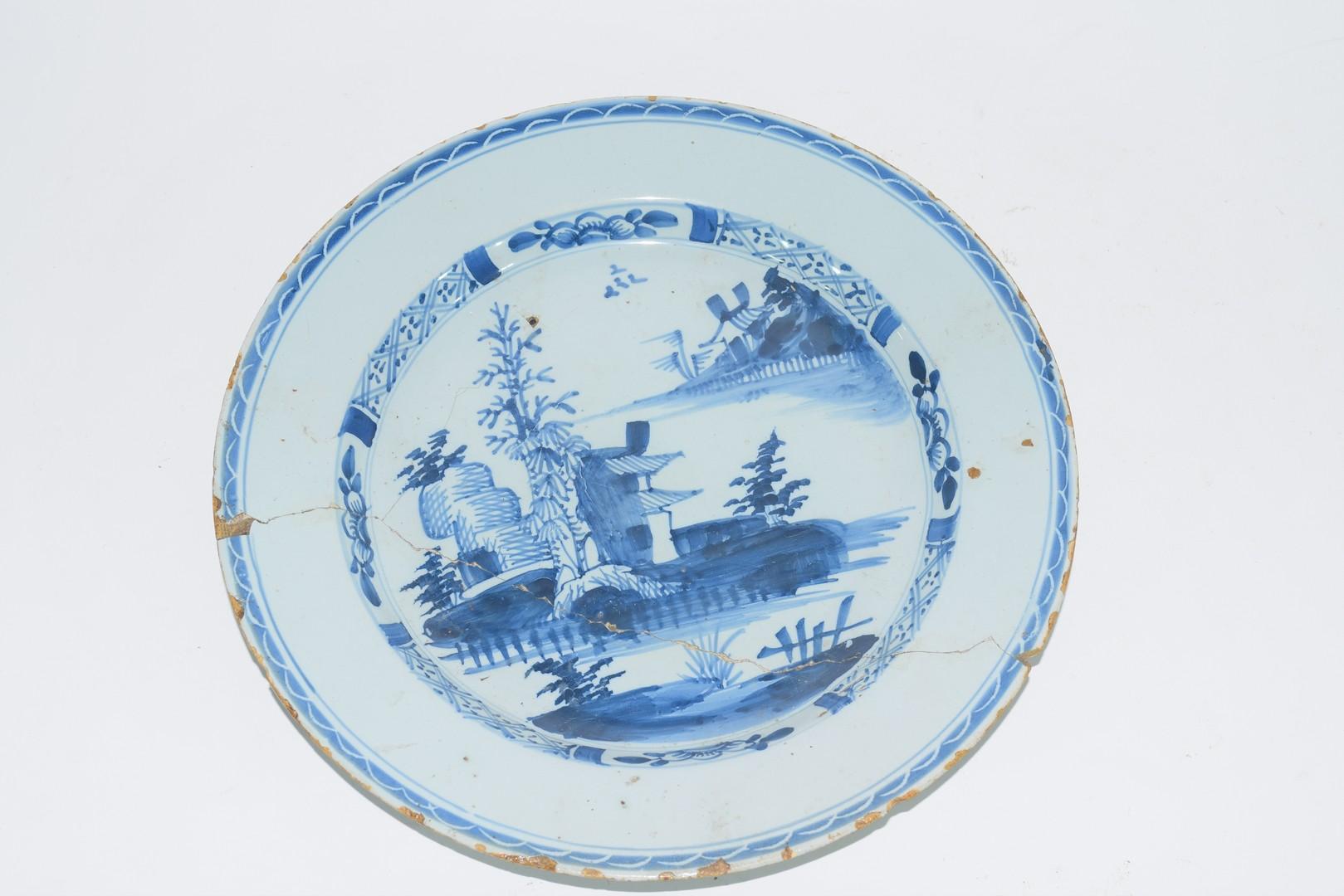 Three 18th century English Delft plates - Image 6 of 7