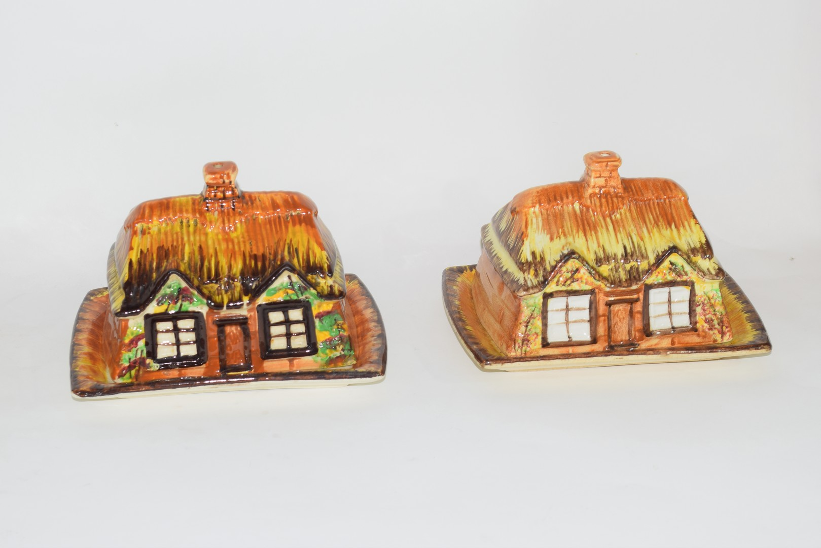 Group of mid-20th century cottage style cheese dish and butter dishes - Image 3 of 5