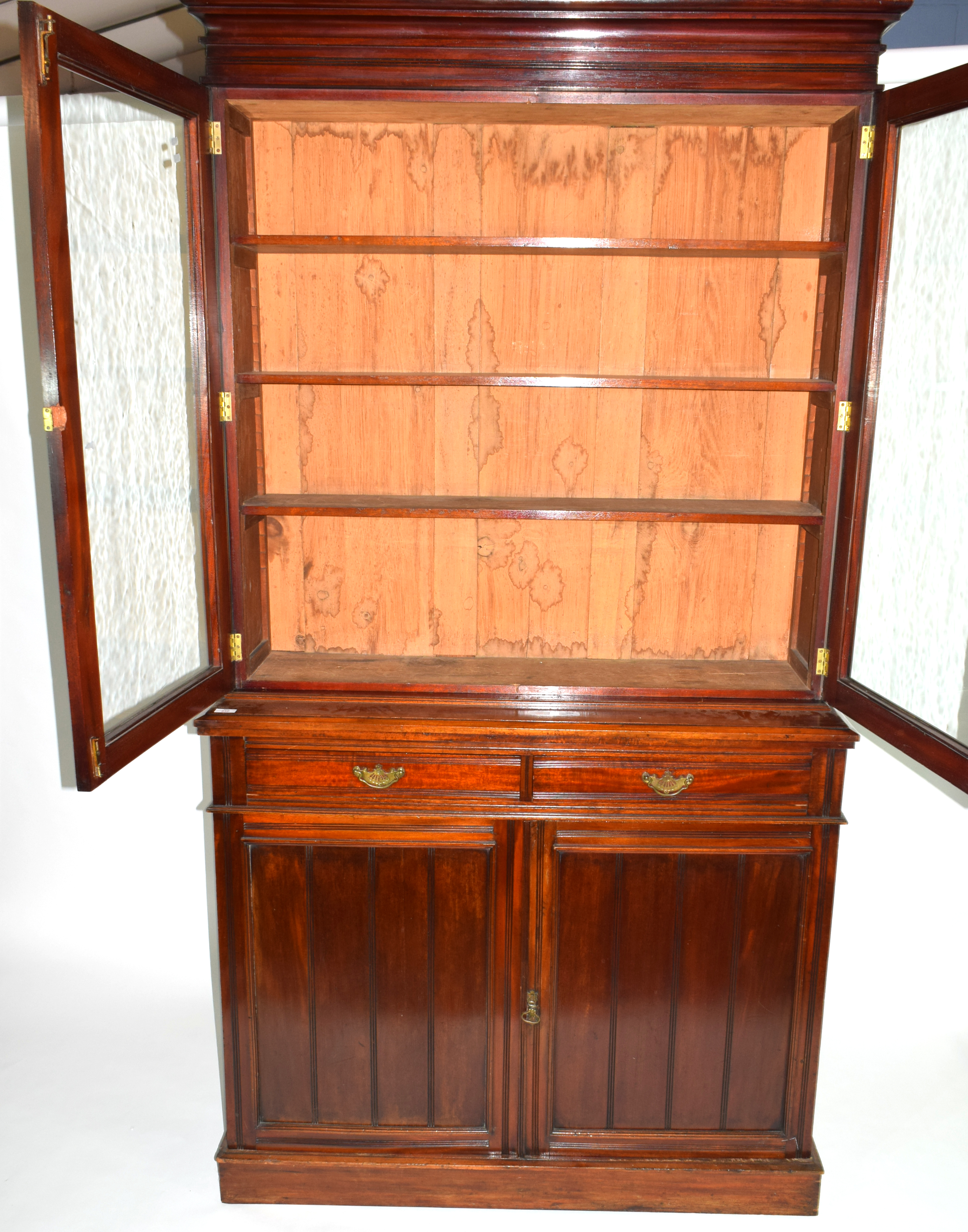 Full height mahogany side cabinet with glazed bookcase raised over double cupboard, width approx - Image 2 of 6