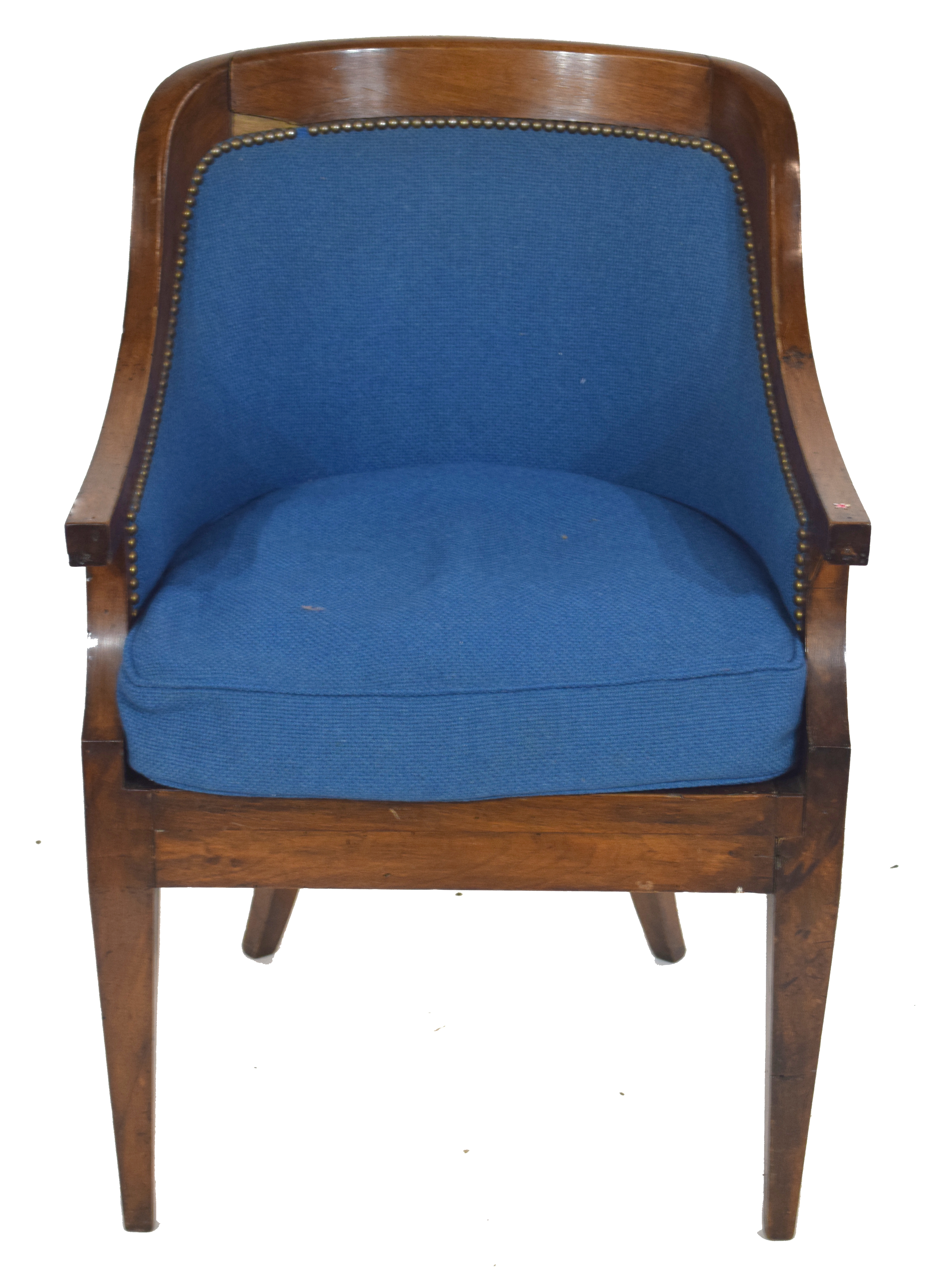 Late 19th/early 20th century mahogany framed tub chair with blue upholstery, 58cm wide Condition: