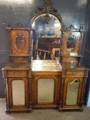 Victorian walnut and burr walnut veneered side cabinet, the shaped back with large central mirror