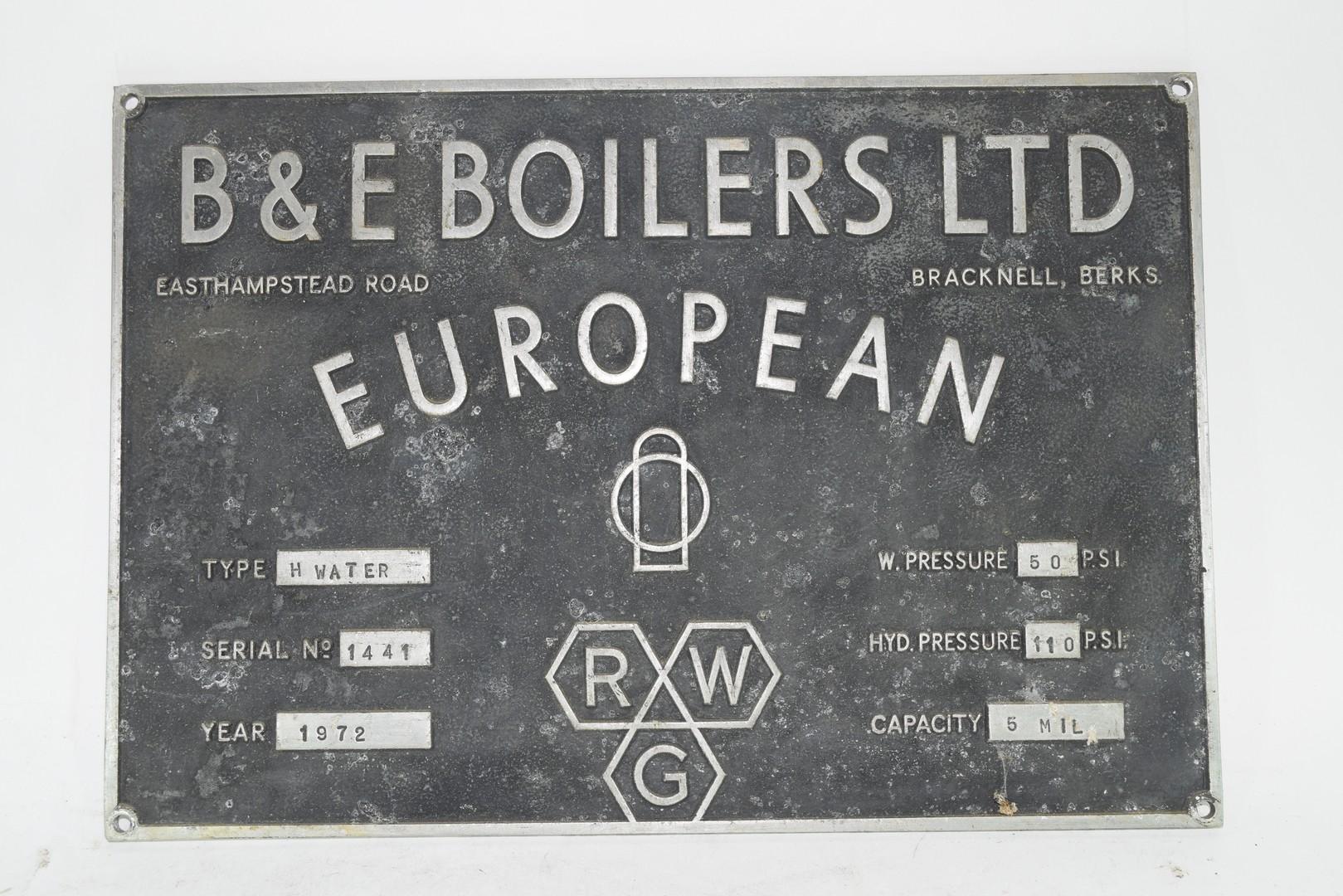 Machine Plaque, B & E Boilers