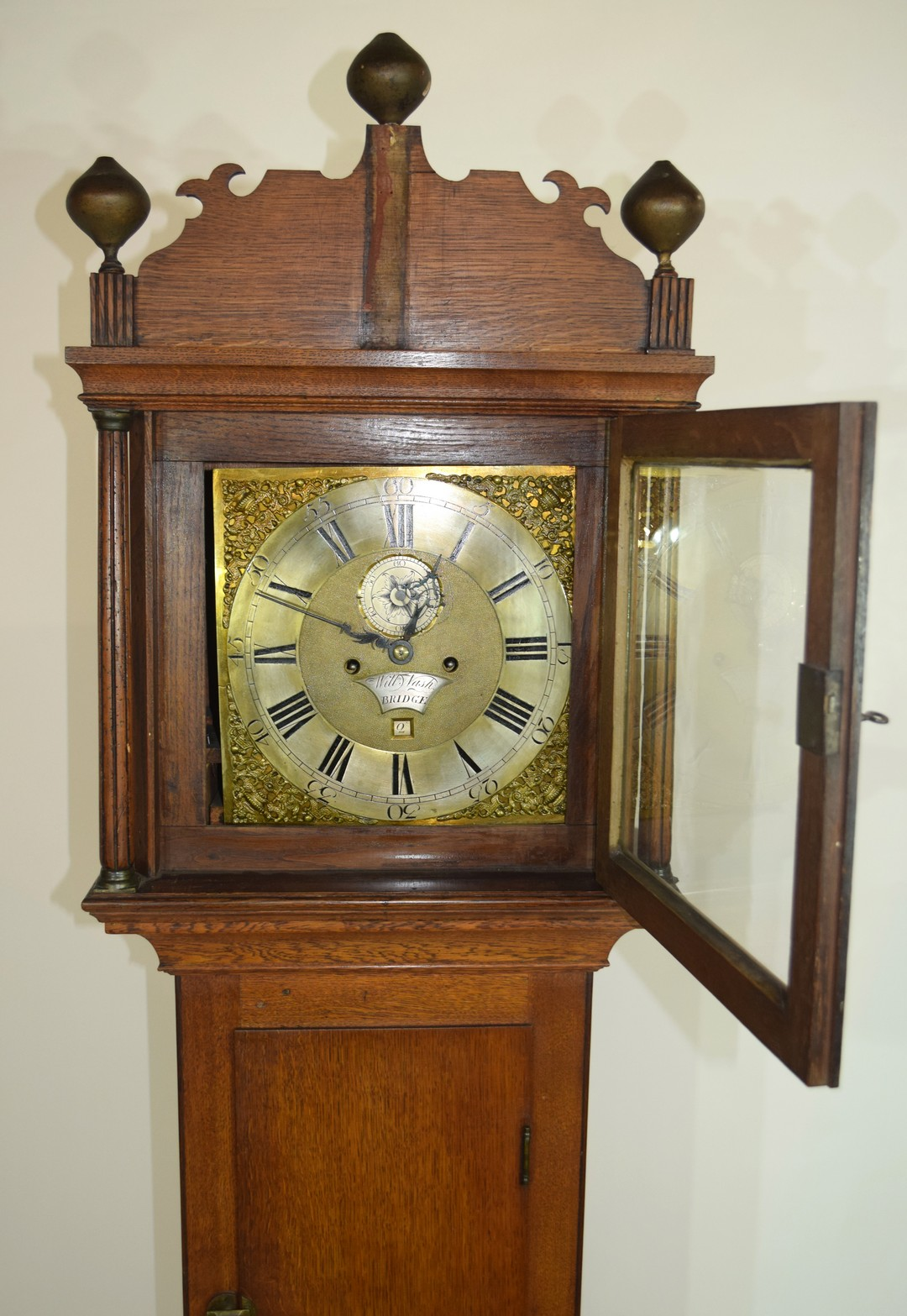 William Nash, Bridge, (Kent) 18th century oak cased longcase clock, the brass and silvered face with - Image 3 of 4