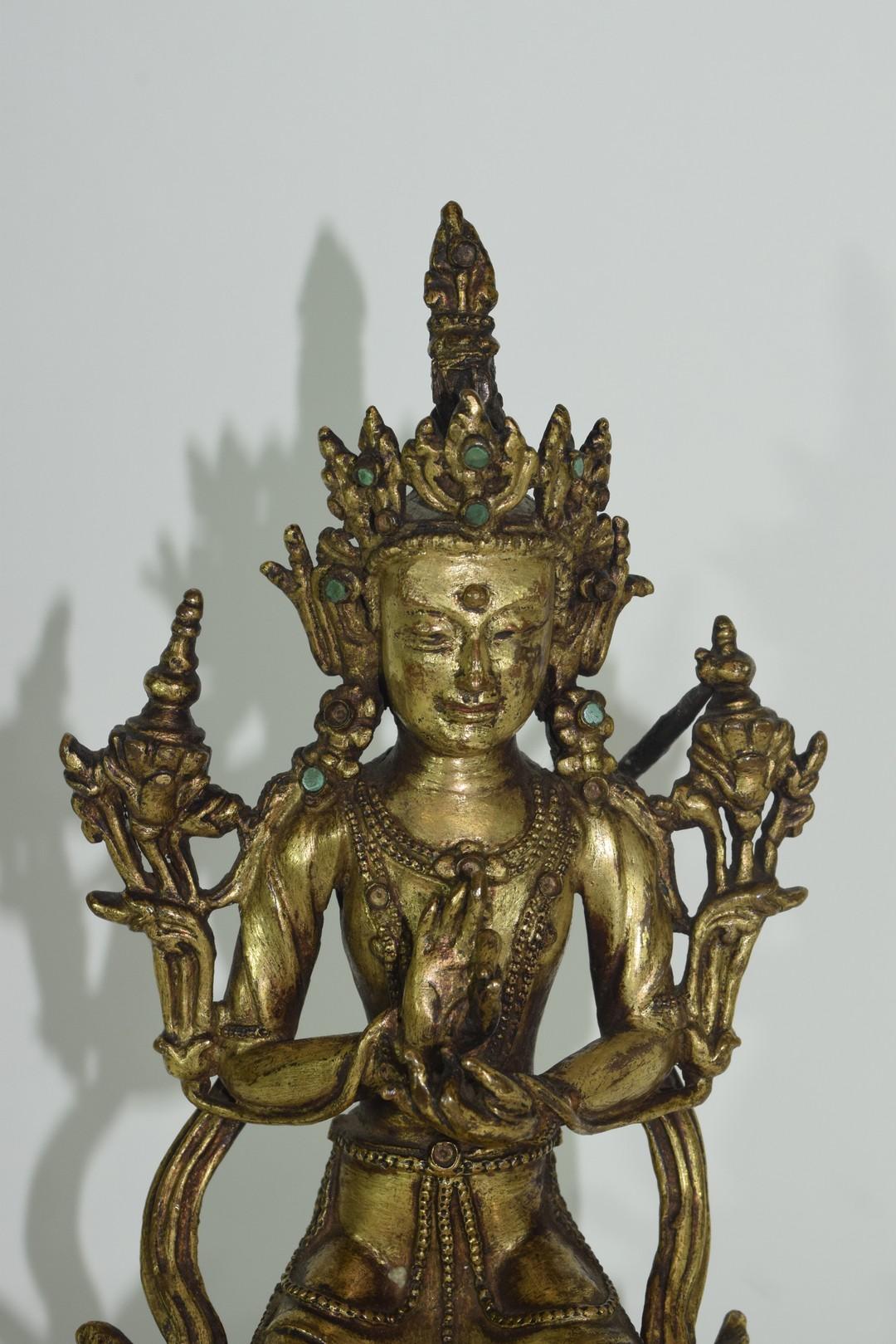 Rare Sino-Tibetan gilt bronze figure of Maitreya - Image 7 of 8