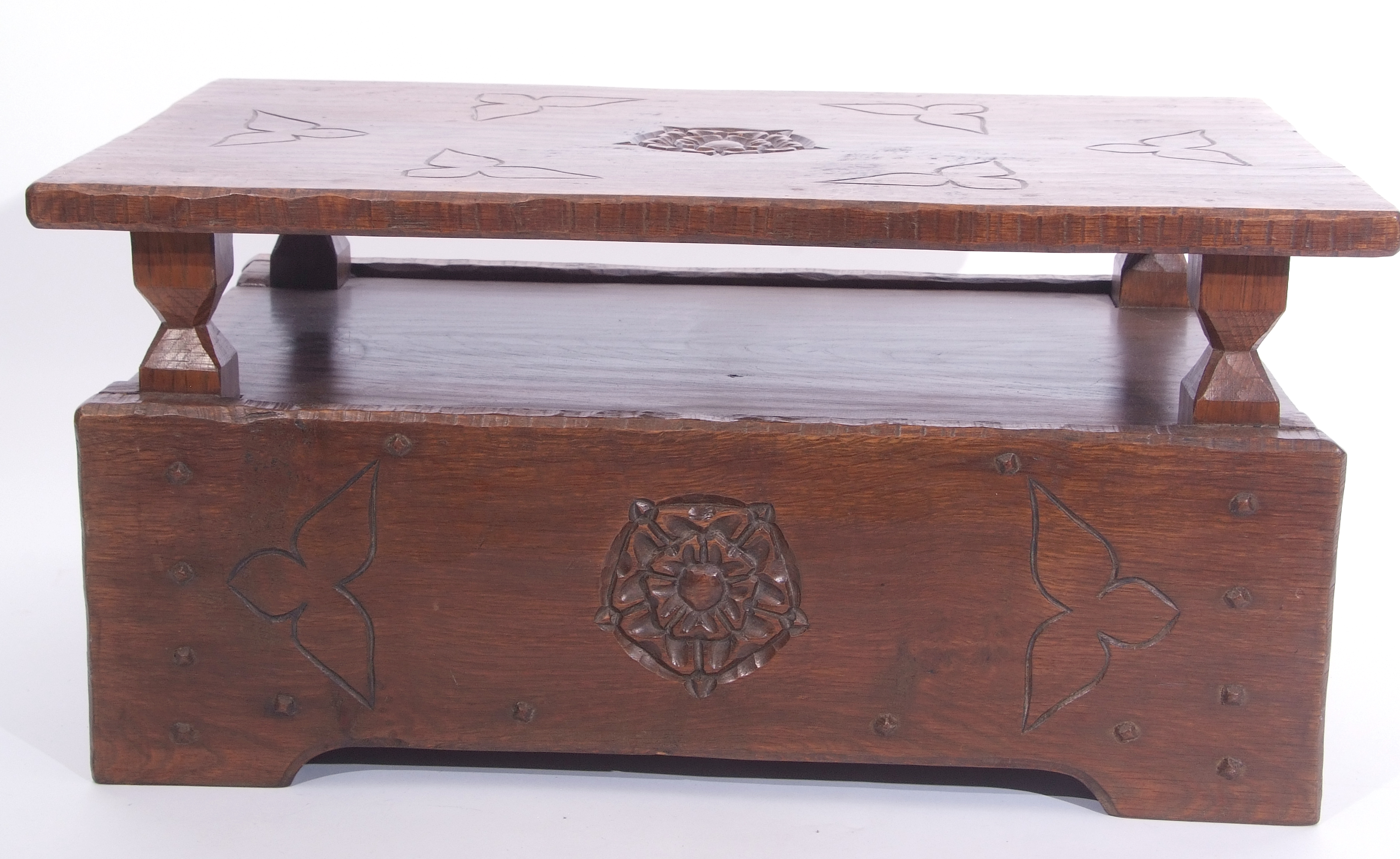 Jack Grimble of Cromer Oak coffee table with drop down storage end, carved with Tudor Rose detail - Image 3 of 9