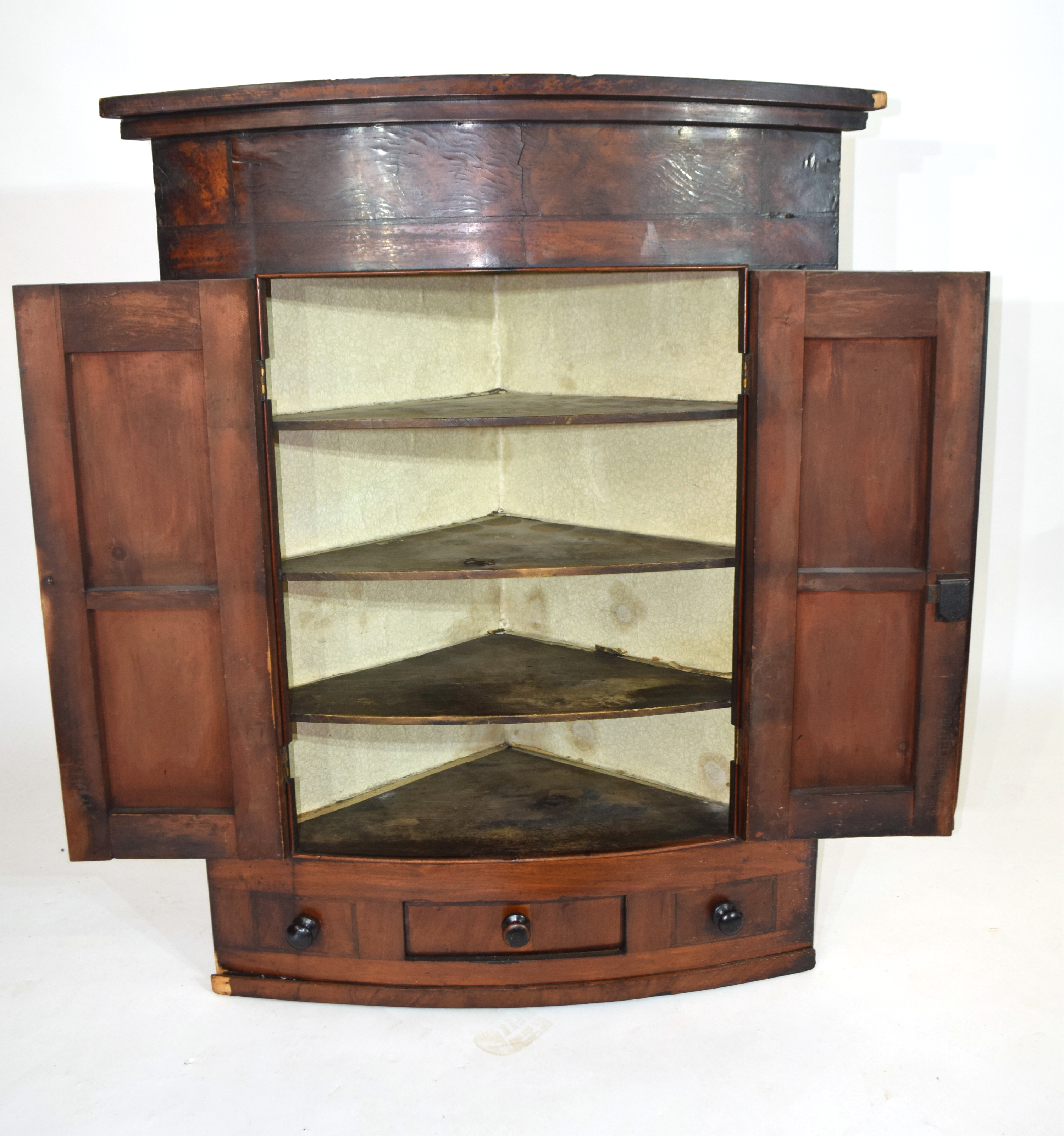 19th century mahogany corner cabinet of large proportions, the bow front body with two panelled - Image 2 of 4