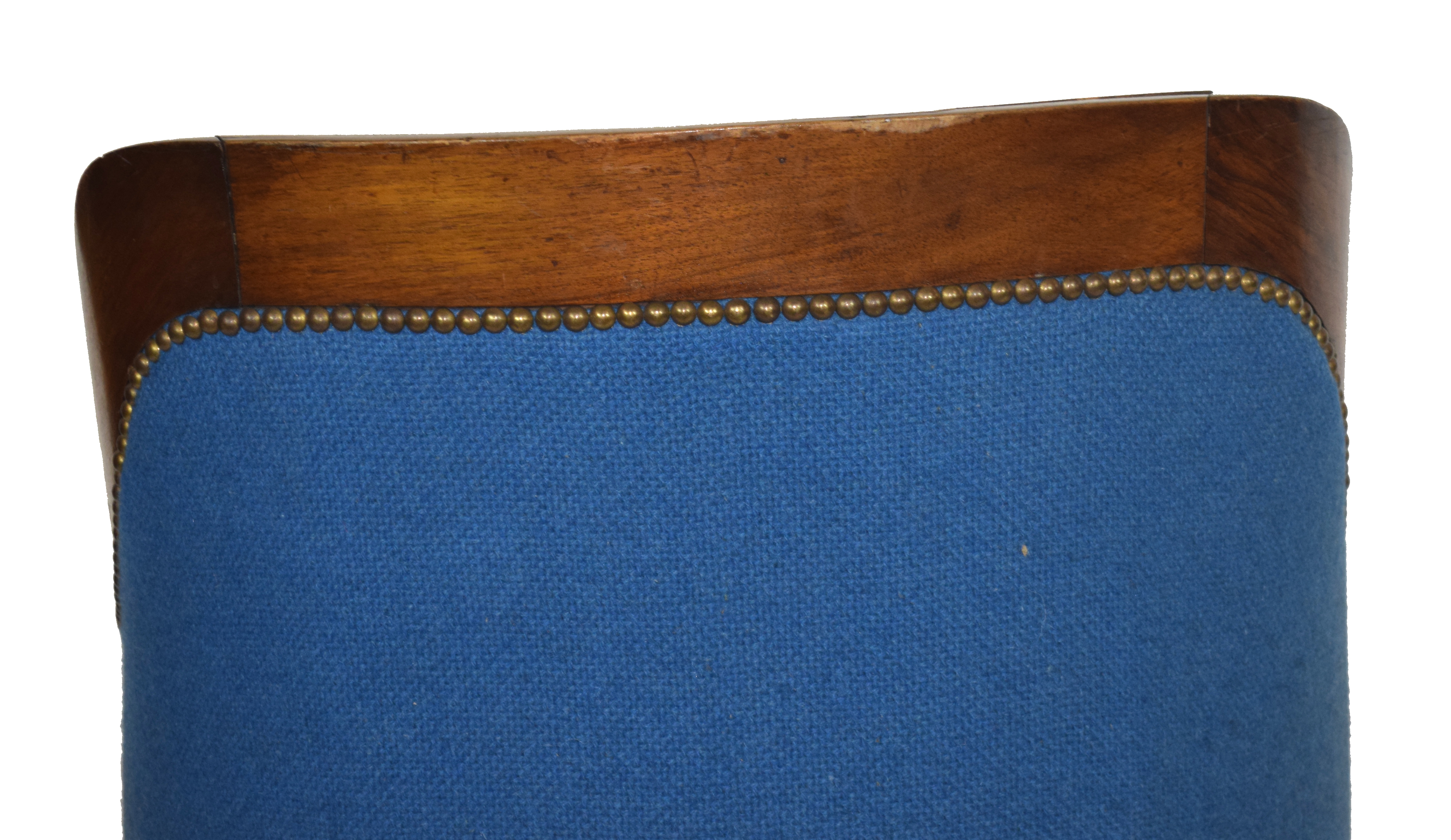 Late 19th/early 20th century mahogany framed tub chair with blue upholstery, 58cm wide Condition: - Image 5 of 5