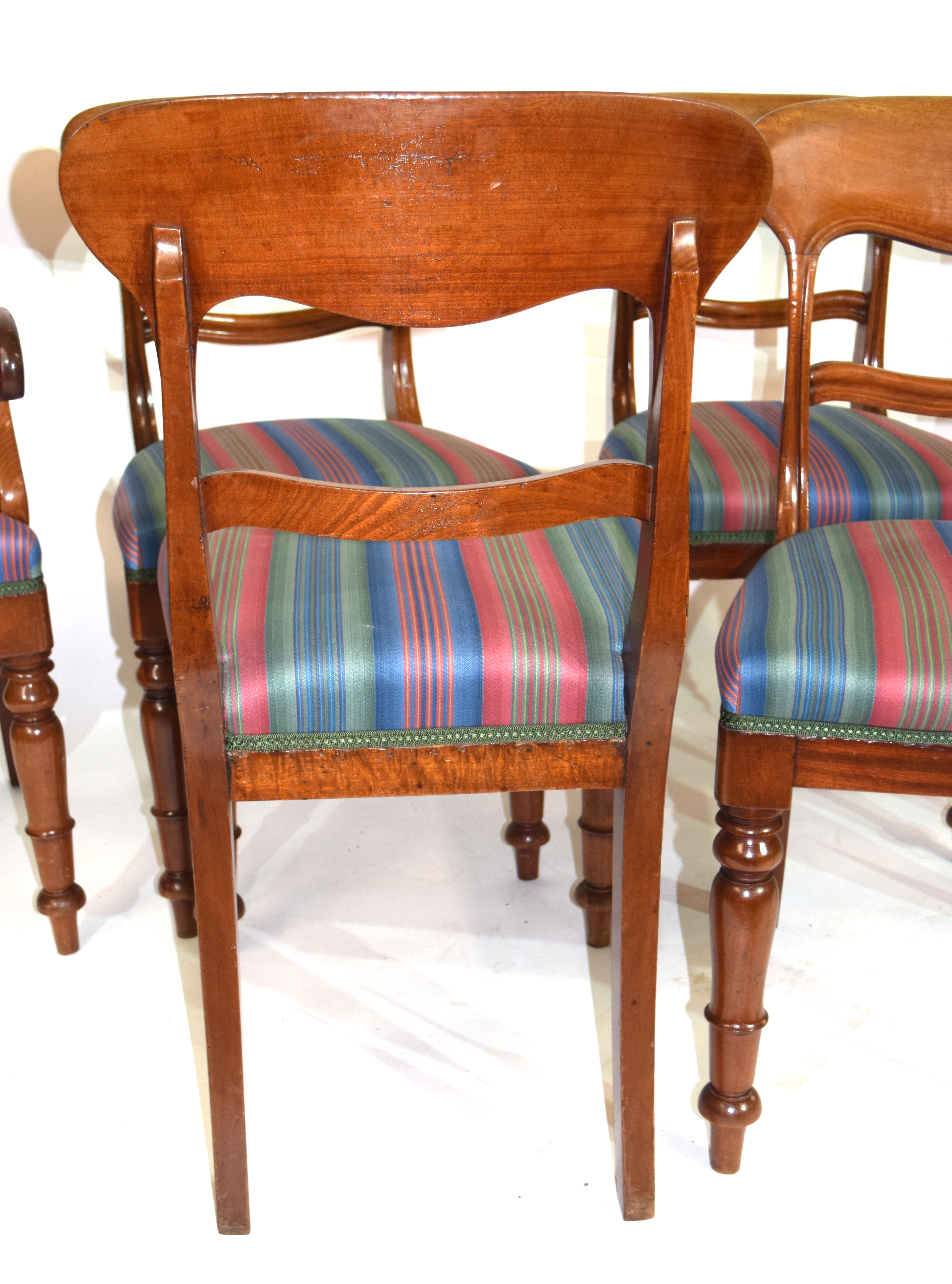 Set of six Victorian mahogany bar back dining chairs, comprising one carver and five single chairs - Image 4 of 5
