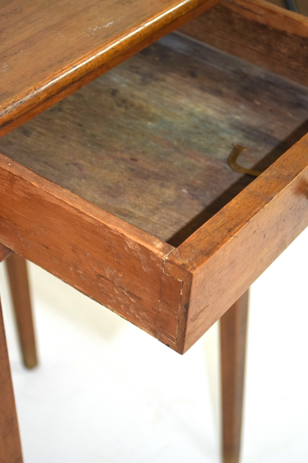 Small square stained table with drawer 70cm in height Condition: Structurally sound but requires - Image 3 of 4