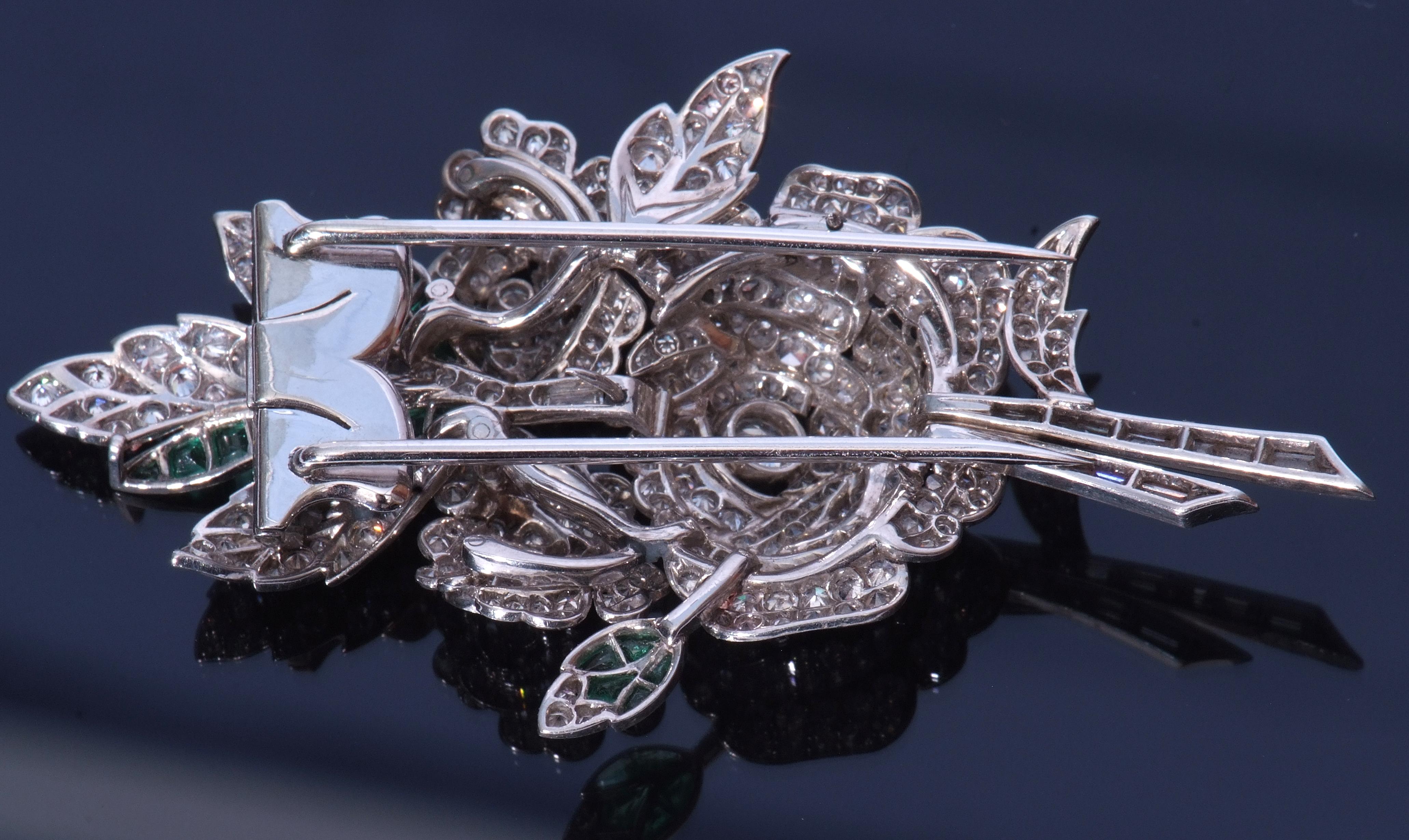 Diamond and emerald spray pin brooch - Image 3 of 3