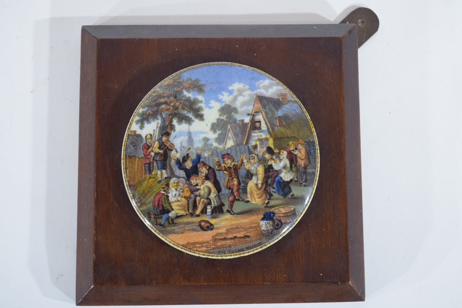 Group of pot lids on wooden mounts - Image 6 of 7