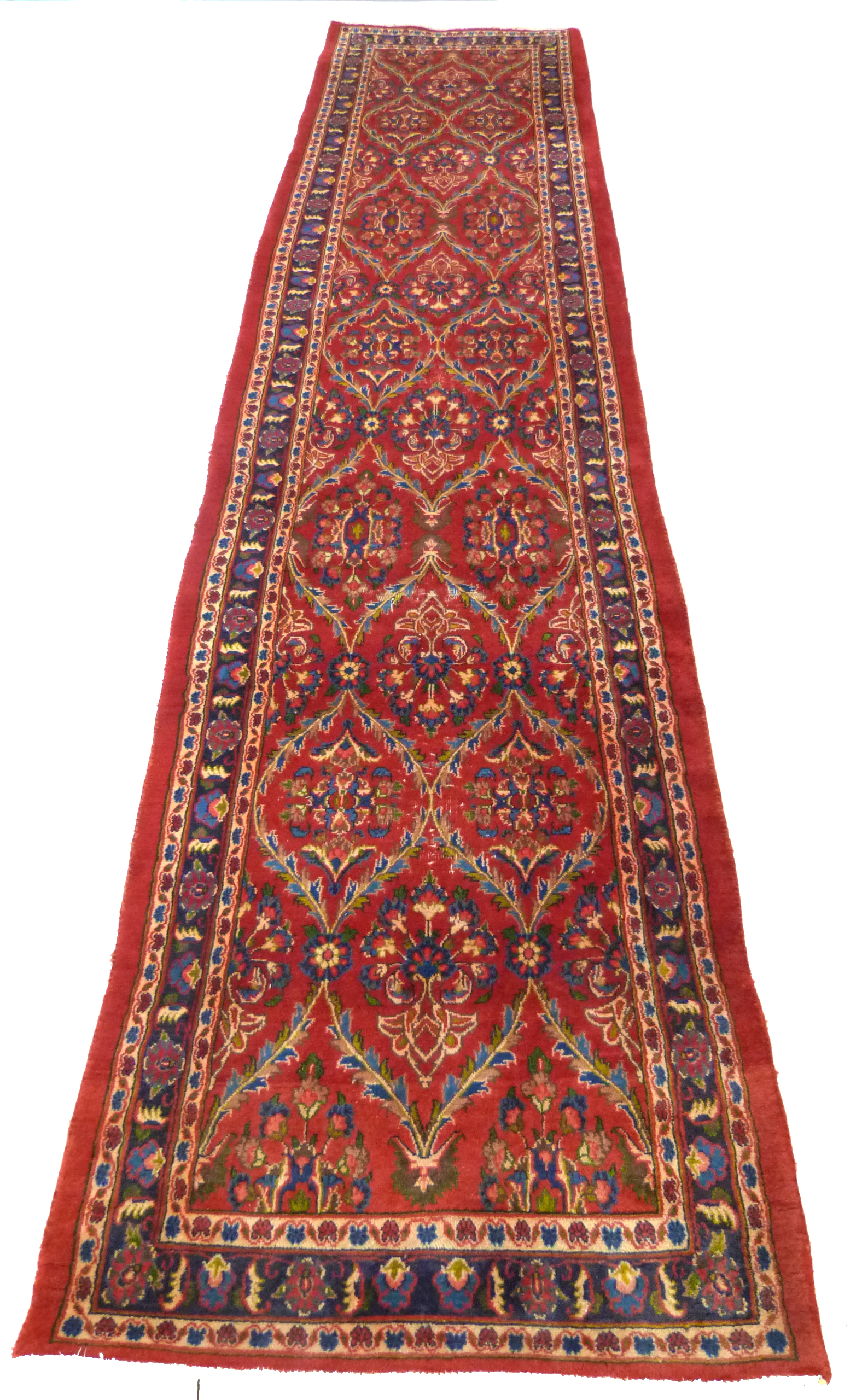 Large red ground Persian Kashan Runner, with all-over floral pattern 397cm x 93cm approximately No - Image 2 of 6