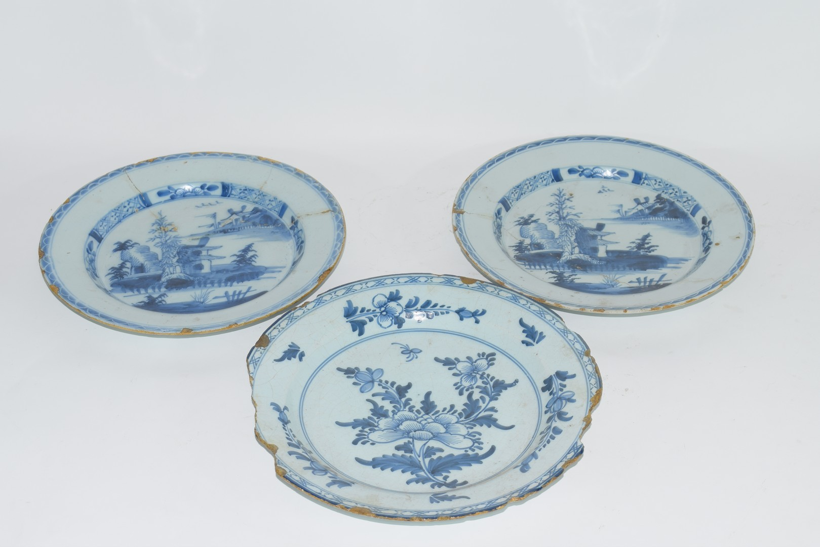 Three 18th century English Delft plates