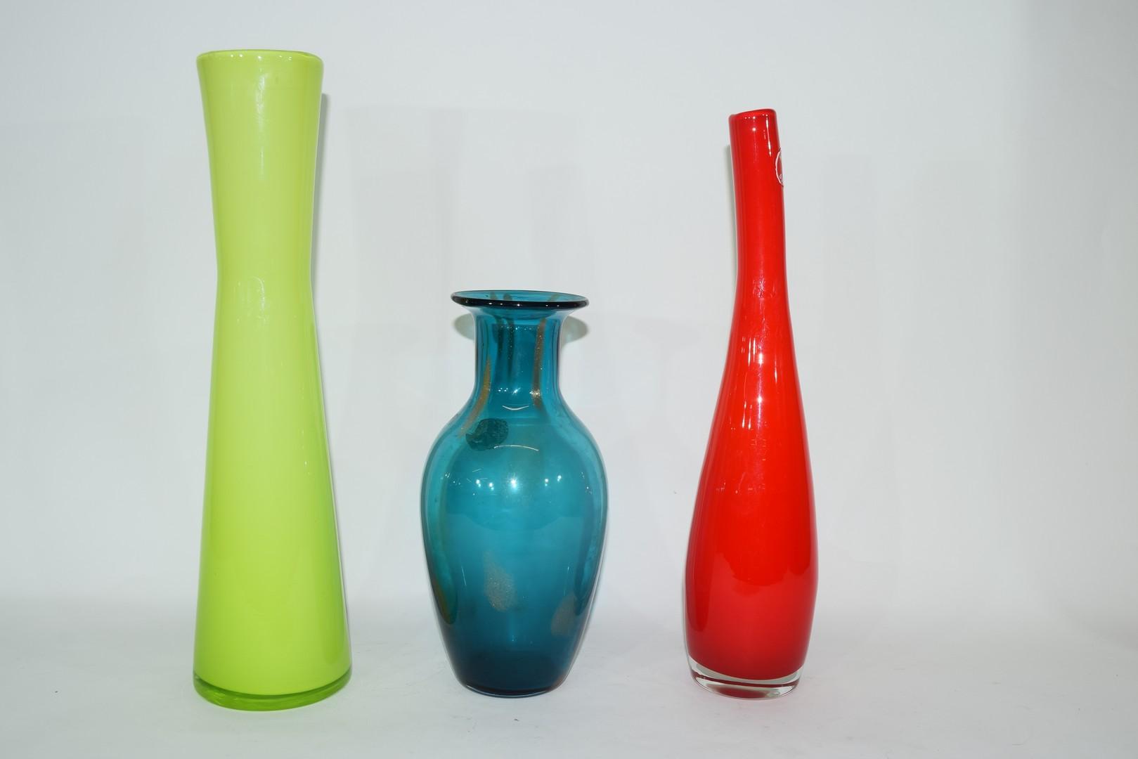 Group of three Swedish Art glass vases