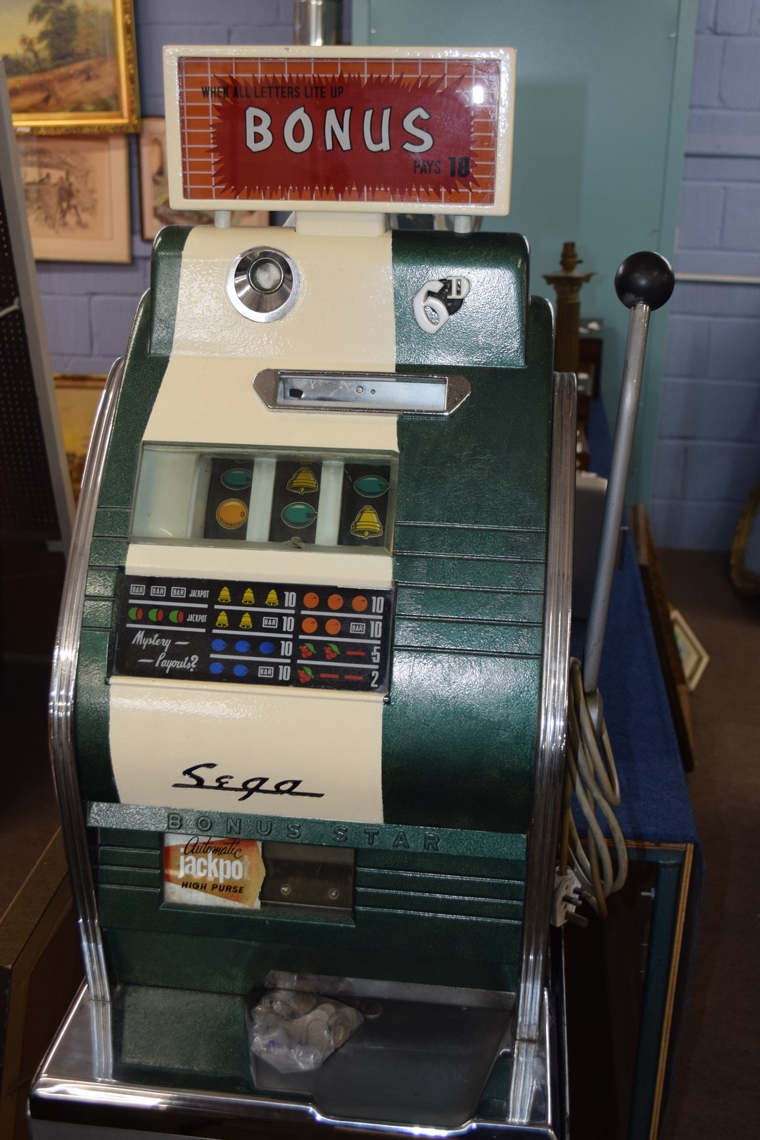 Bonus Star by Sega one-armed bandit fruit machine with electric light-up, approx 80cm high, together - Image 3 of 11