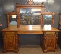 Very large and imposing Victorian Oak mirror back sideboard, back panel with three mirror plates and