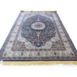 Rich blue ground full pile Turkish Carpet, with floral medallion design 320cm x 200cm approximately