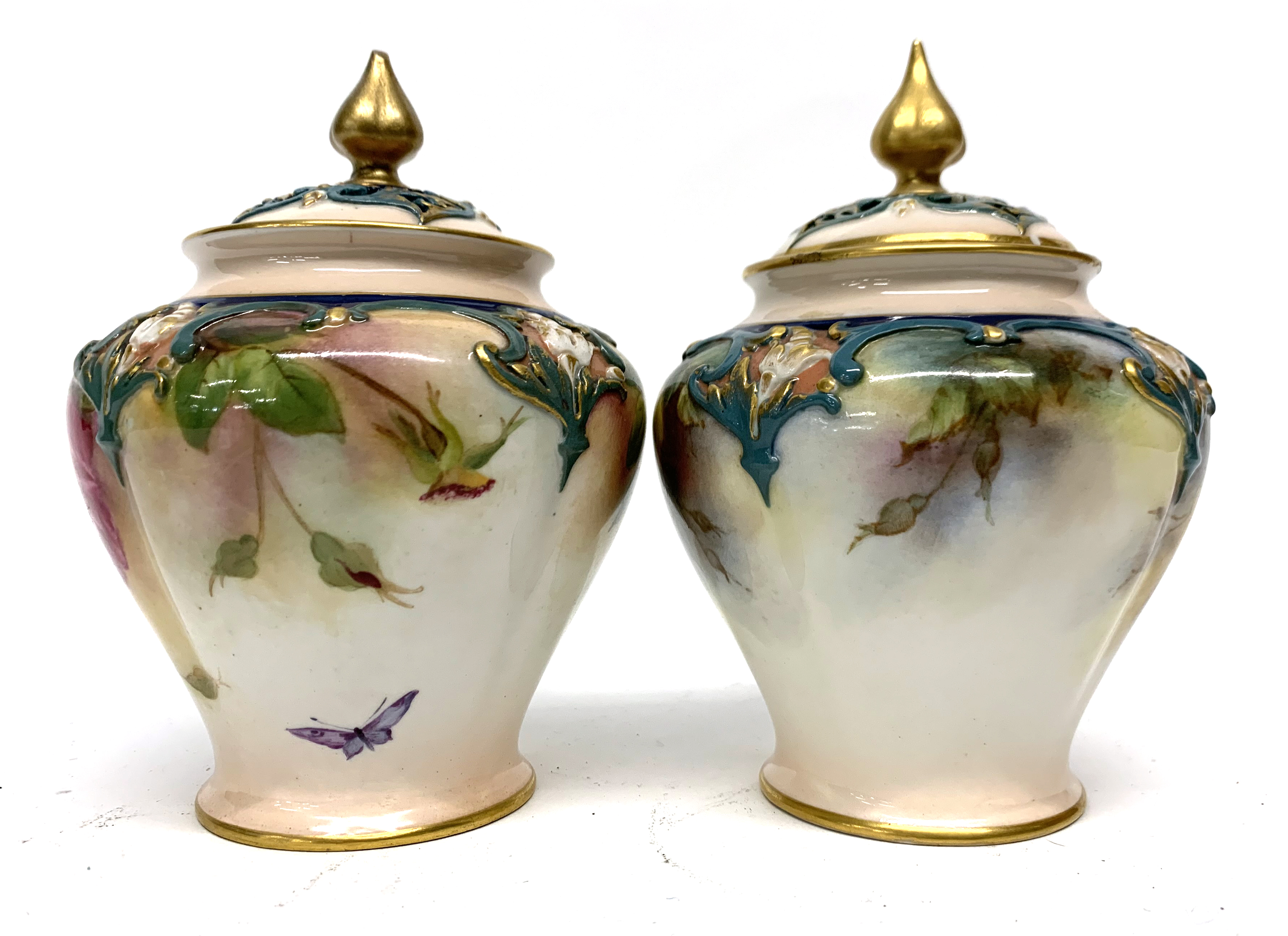 Pair of late 19th century Hadleigh Worcester vases a - Image 3 of 8
