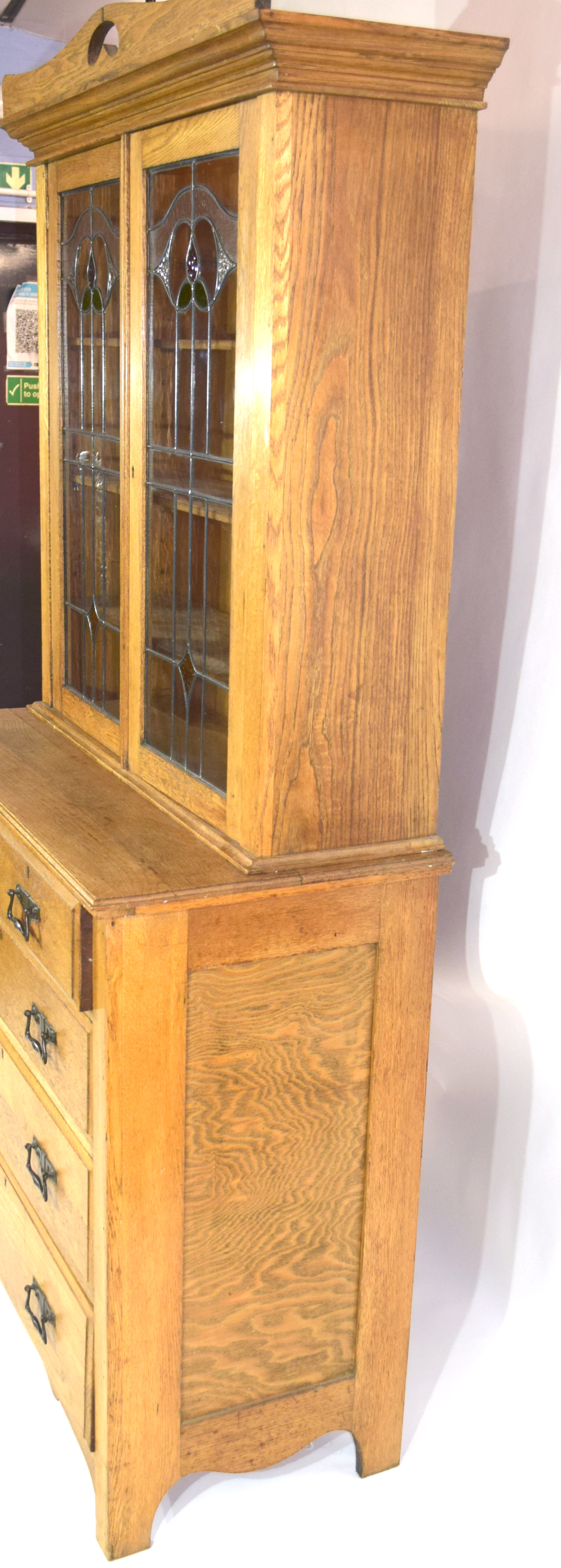 Late 19th century light oak two-piece cabinet, the top section with double glazed doors with Art - Image 5 of 7