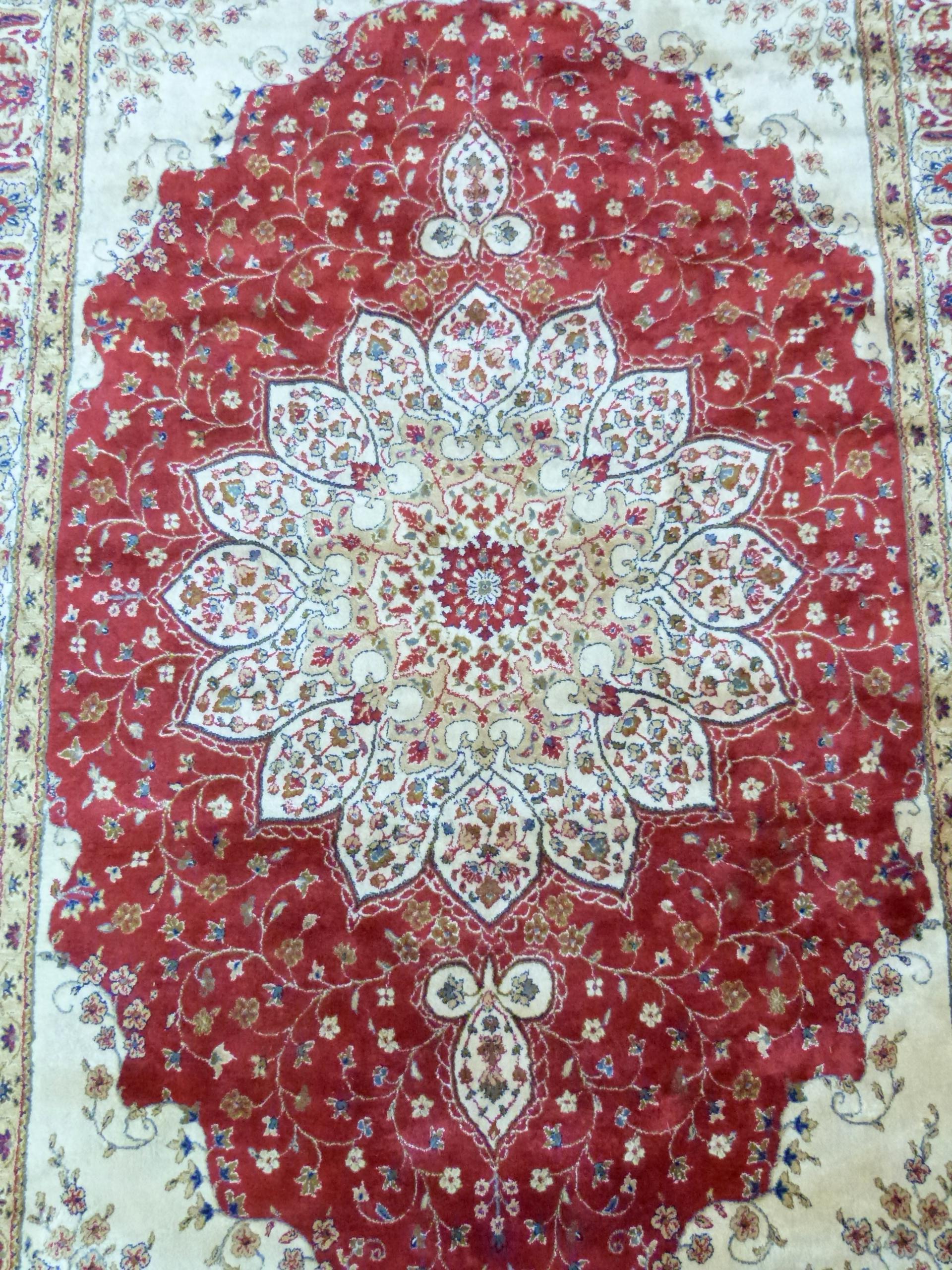 Red ground Kashmir floral medallion design Rug, 240 x 156cm approx - Image 3 of 6