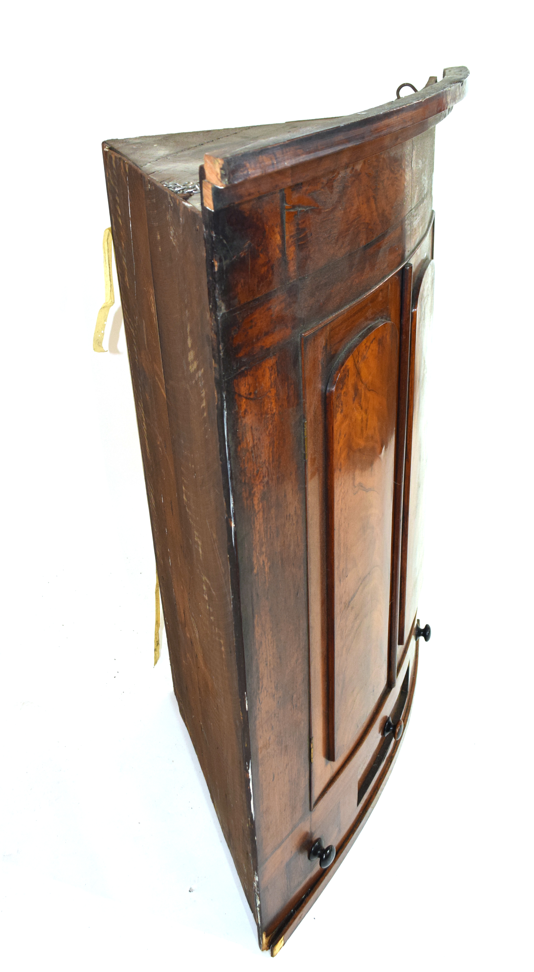 19th century mahogany corner cabinet of large proportions, the bow front body with two panelled - Image 3 of 4