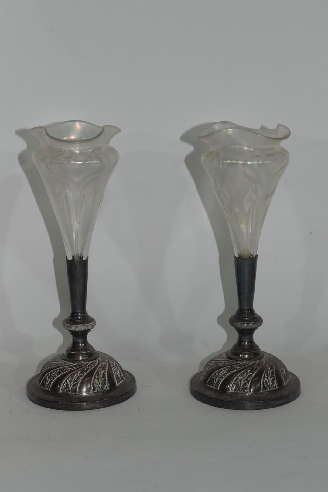 Pair of Art Nouveau bud vases - Image 2 of 5