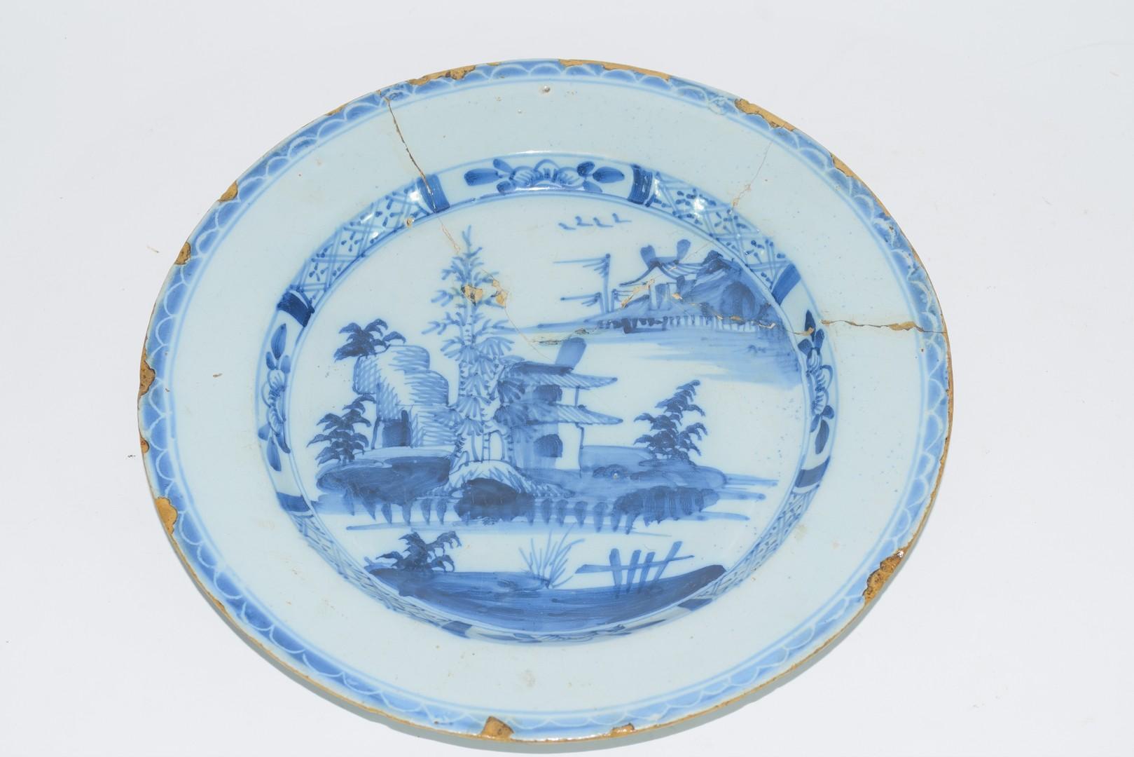 Three 18th century English Delft plates - Image 2 of 7