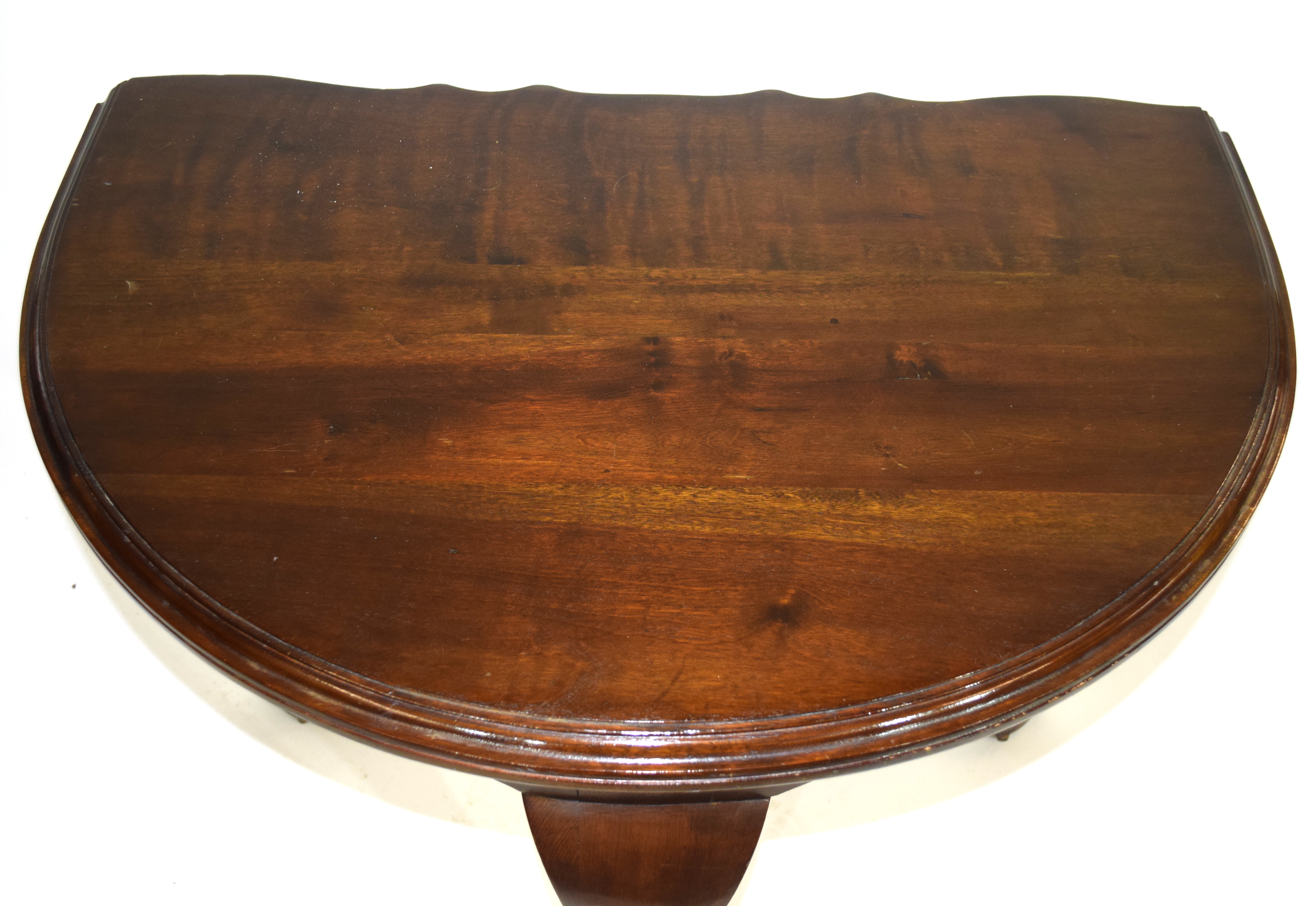 Edwardian mahogany demi-lune side table raised on three cabriole legs with ball and claw feet - Image 3 of 7
