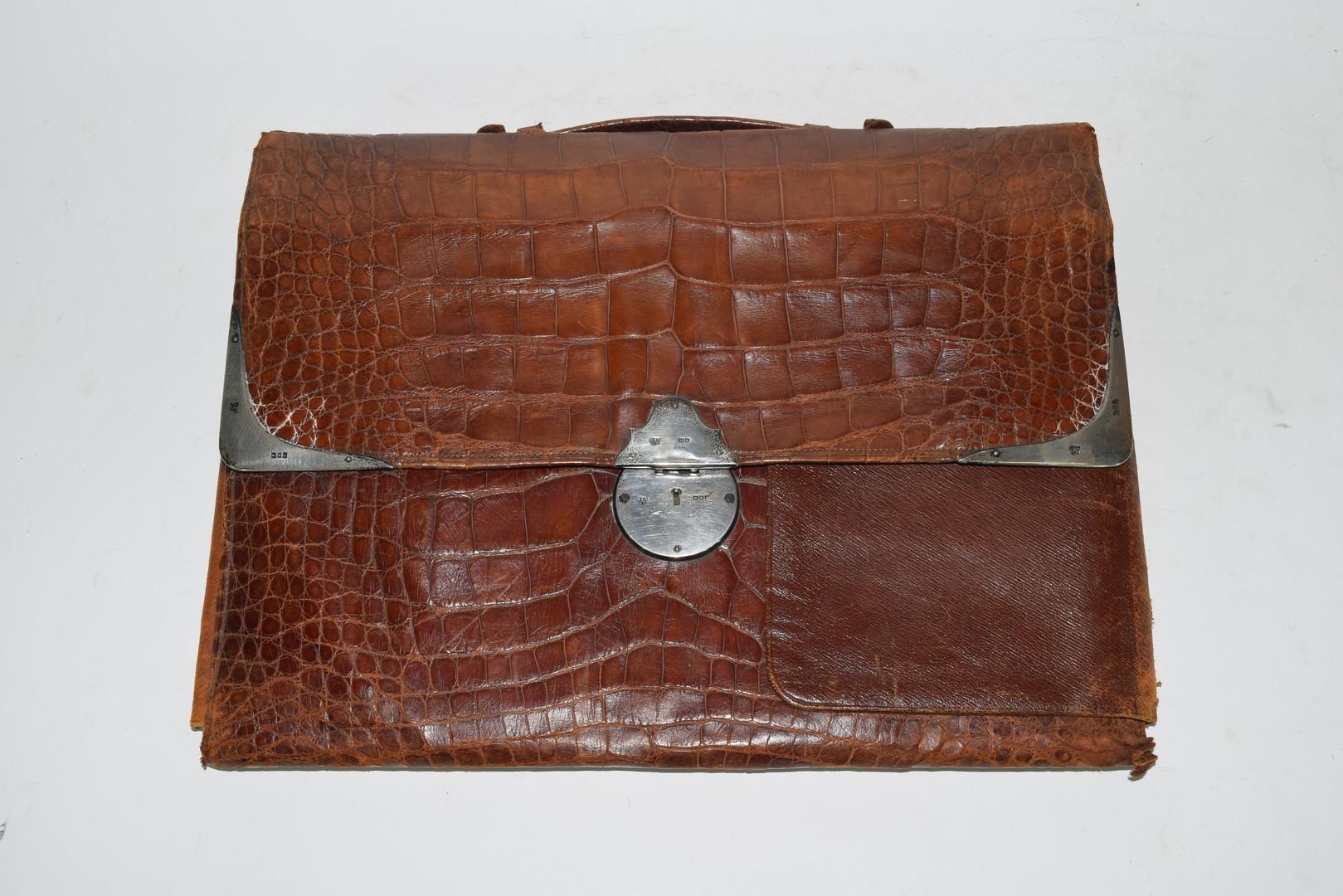 Crocodile skin attache case