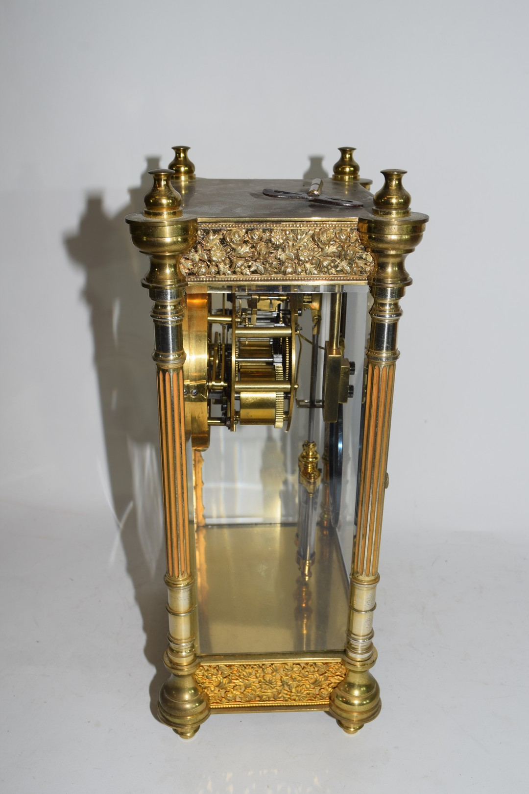 French gilt brass and four glass mounted clock - Image 2 of 5