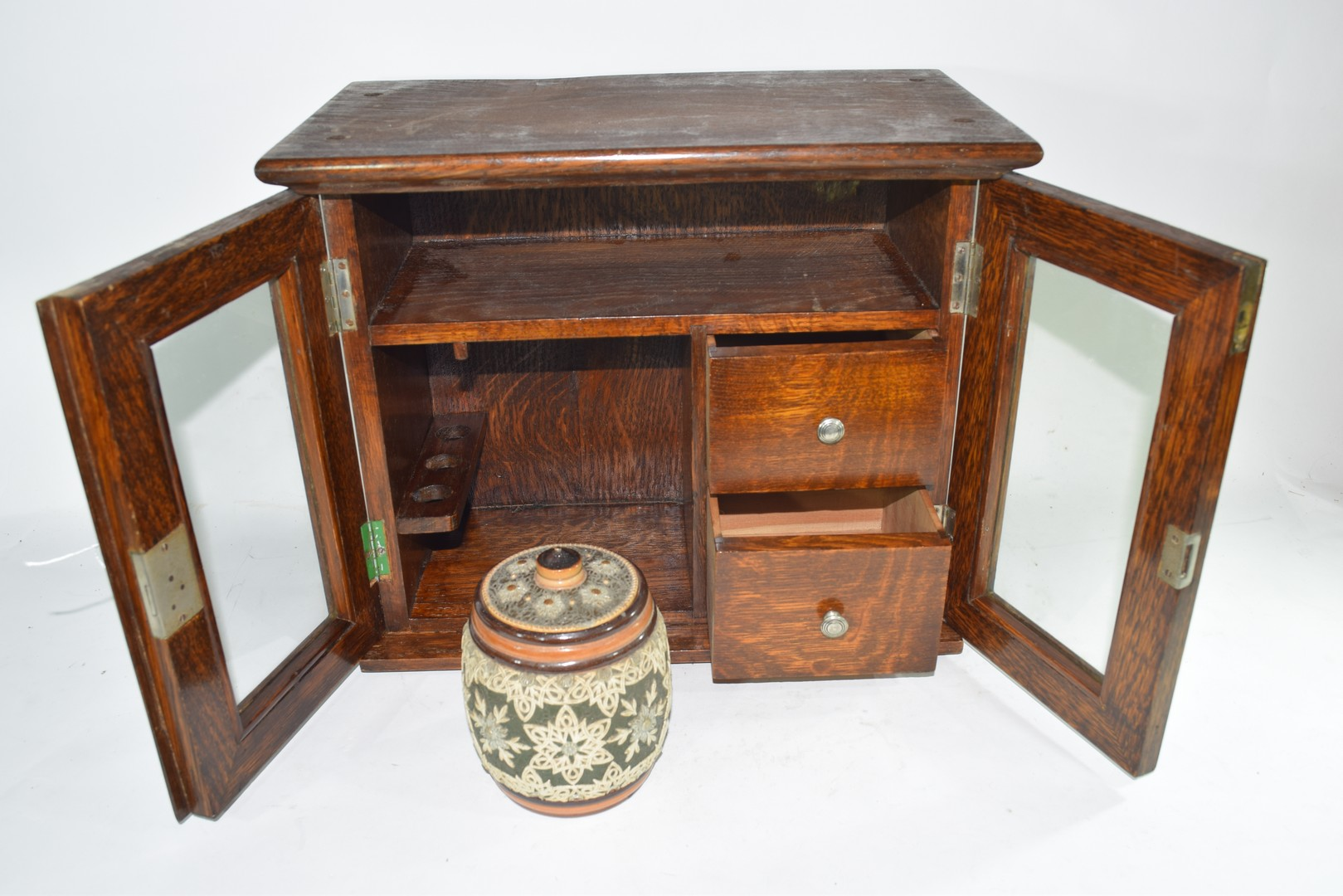 Late 19th century oak smokers cabinet - Image 4 of 5