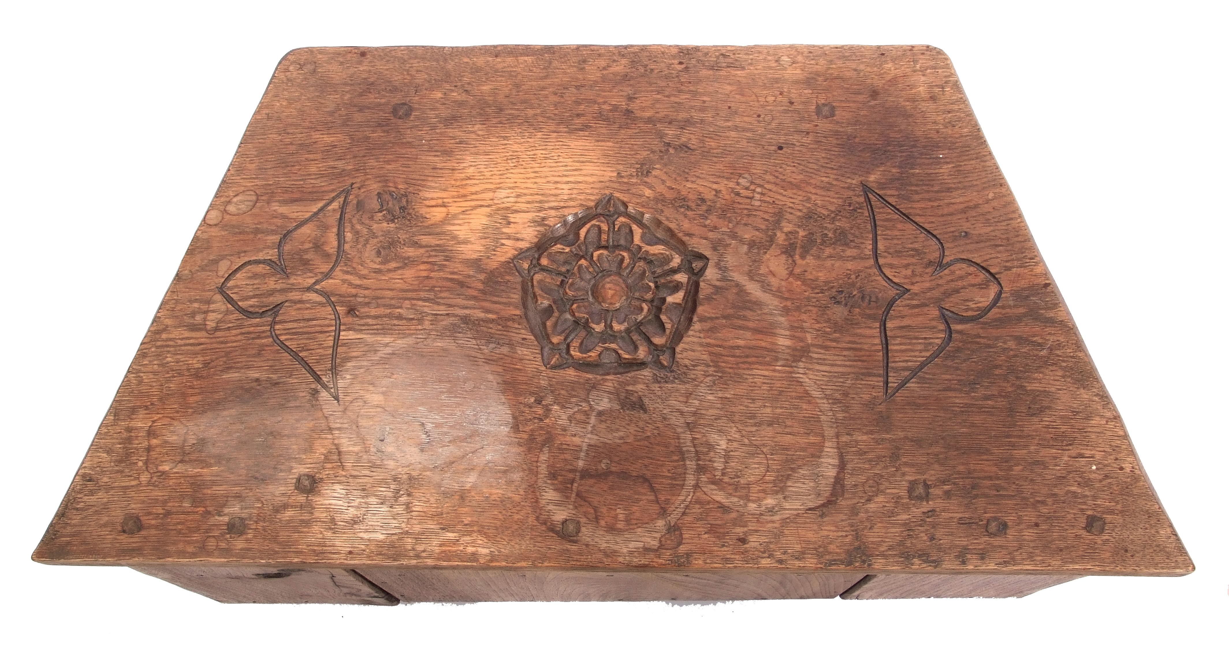Jack Grimble of Cromer, a small oak losenge shaped side table with carved Tudor Rose detail 76cm - Image 9 of 10