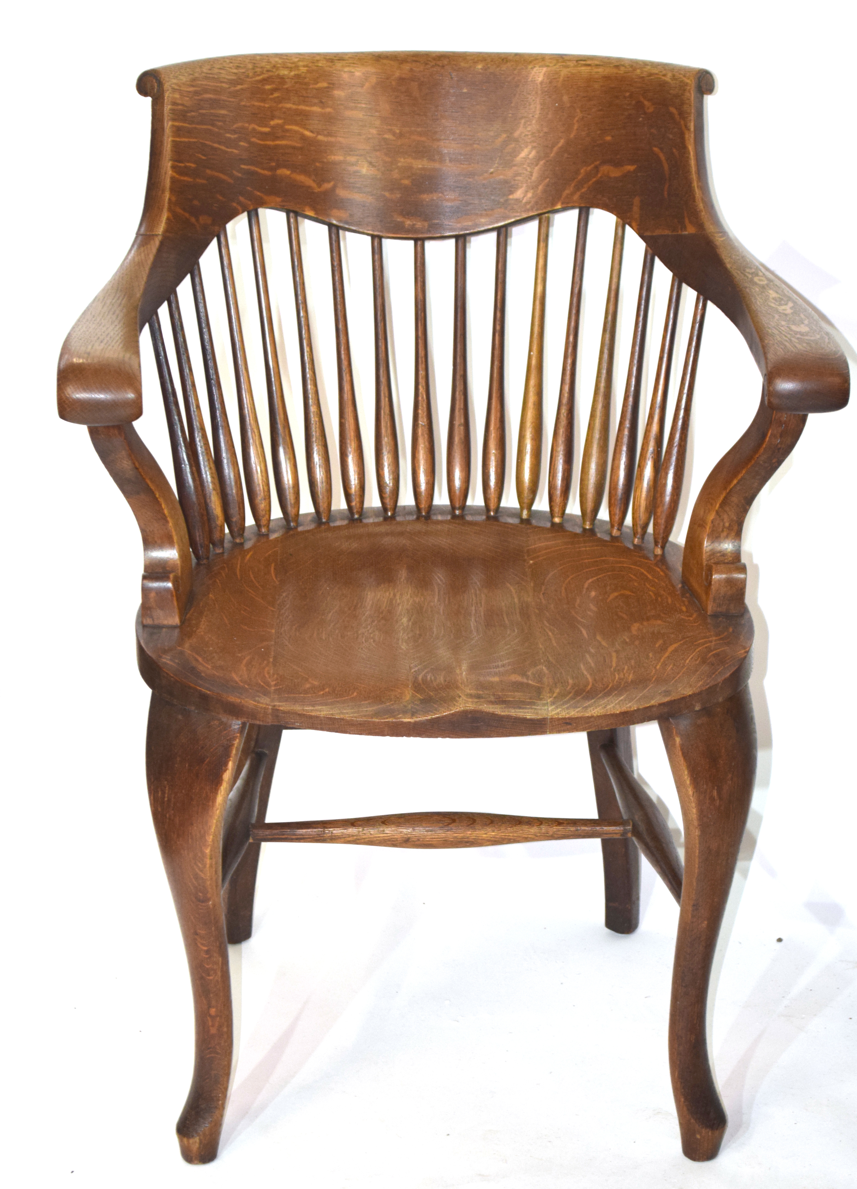 Set of four late 19th century North country oak bow and spindle back chairs - Image 2 of 2
