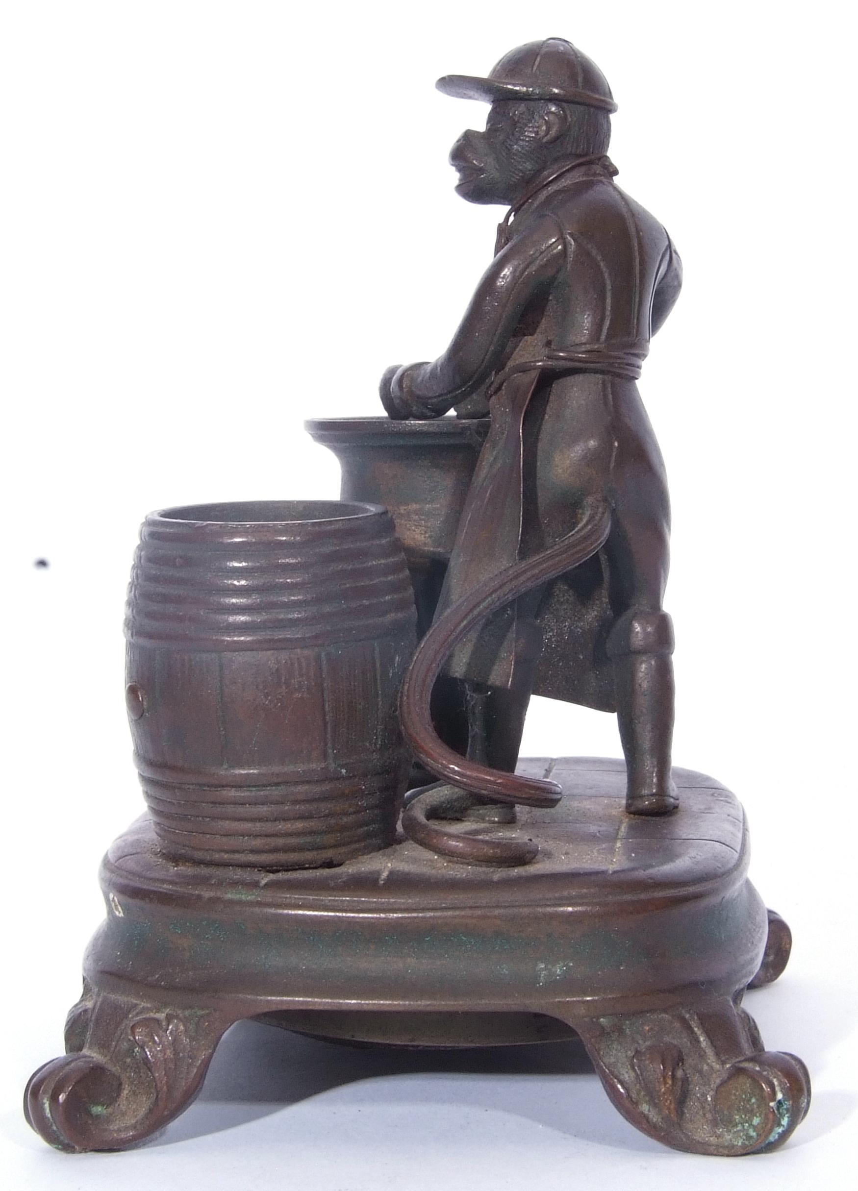 Antique bronze desk bell, a model of a monkey - Image 6 of 11