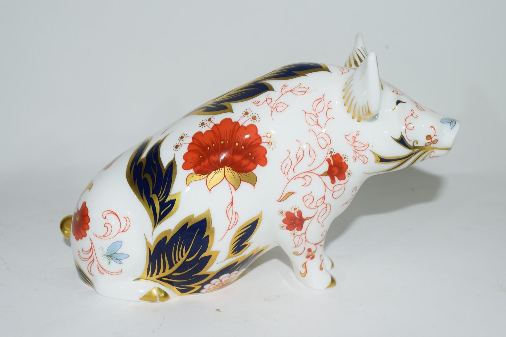 Large Royal Crown Derby pig money box - Image 3 of 5