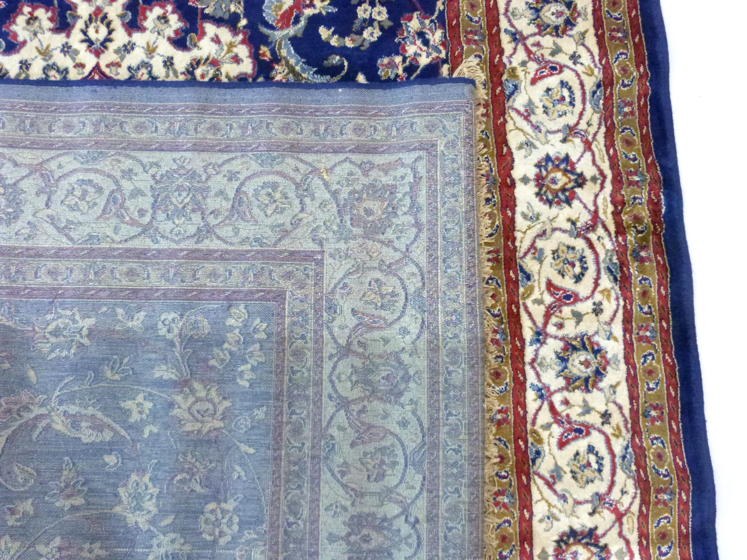 Rich blue ground full pile Kashmir Charbass medallion design 240cm x 156cm - Image 4 of 6
