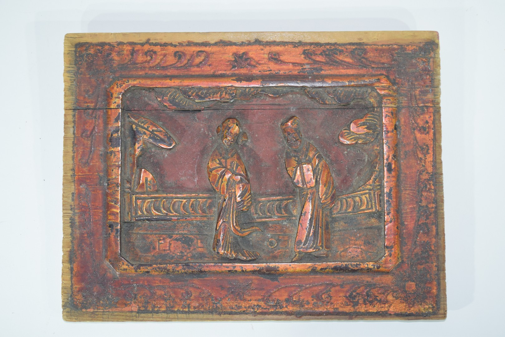 Group of seven Oriental wooden panels - Image 4 of 16