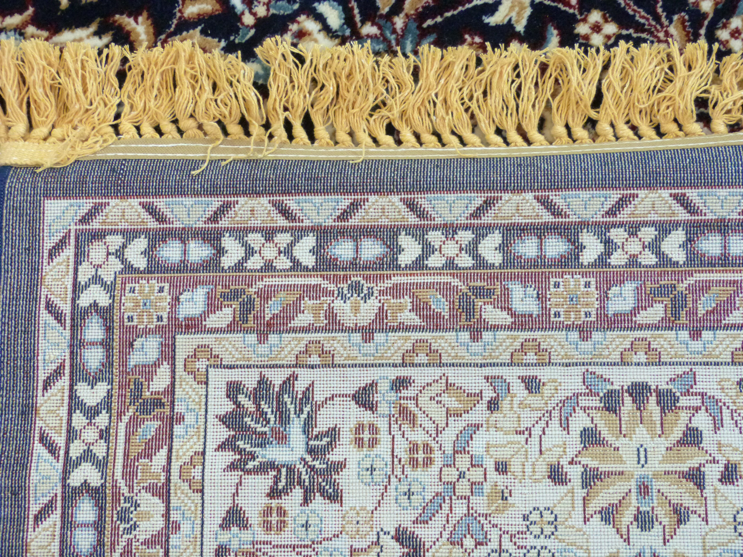 Rich blue ground full pile Turkish Carpet, with floral medallion design 320cm x 200cm approximately - Image 8 of 8