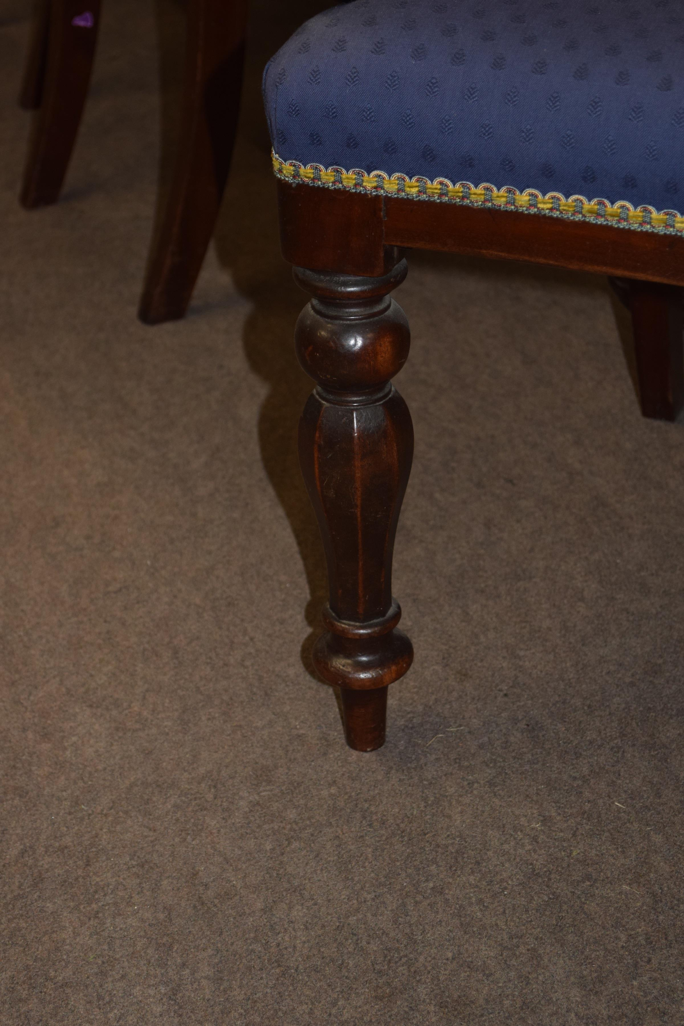Set of six Victorian mahogany bar back dining chairs comprising two carvers with scrolled arms and - Image 4 of 10