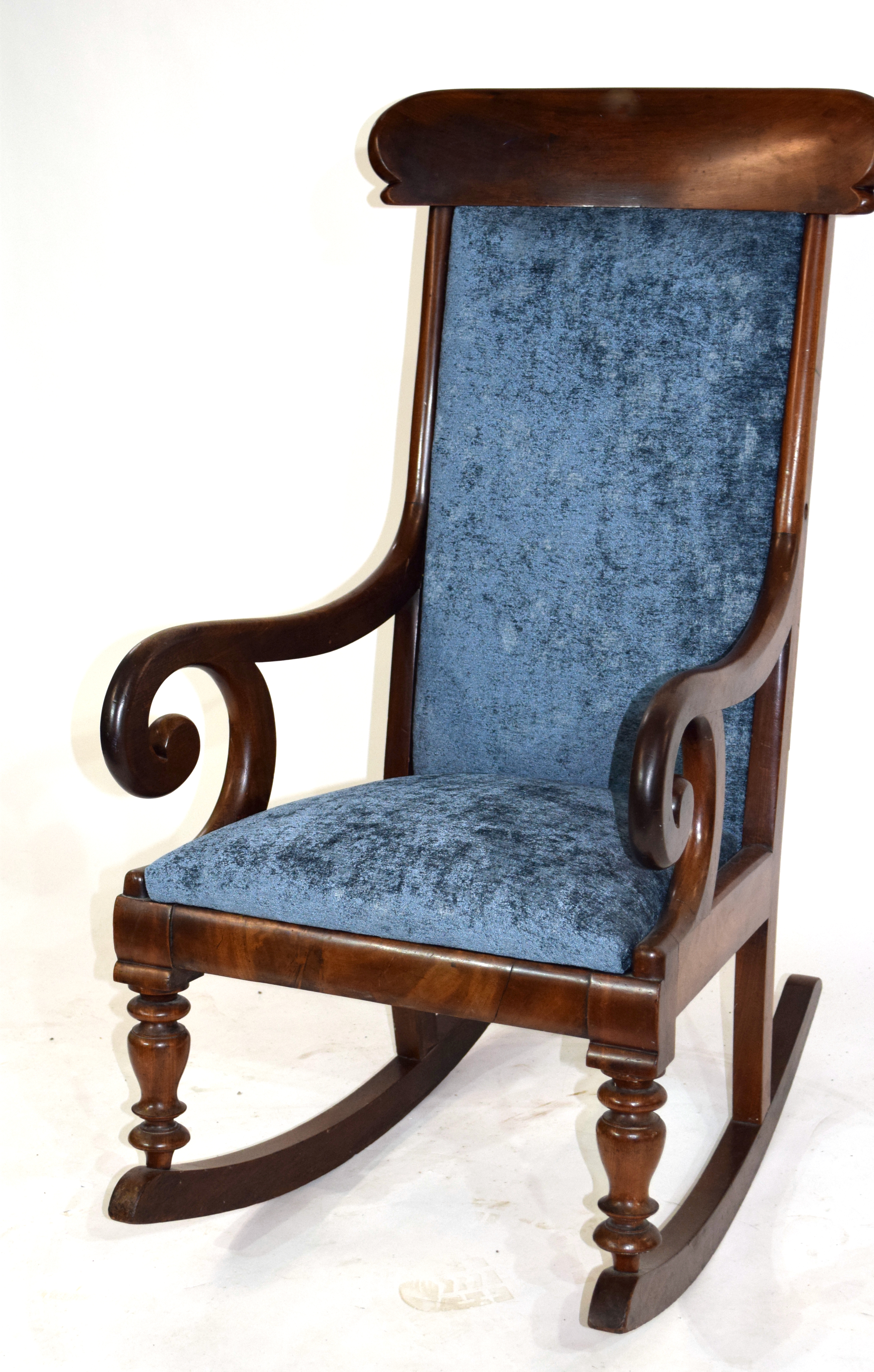 A mahogany framed bar back rocking chair upholstered in blue fabric 104cm in Height Condition: - Image 2 of 2