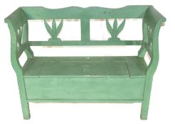Painted pine settle with storage seat 119cm wide Condition: Paint work in worn condition^ appears