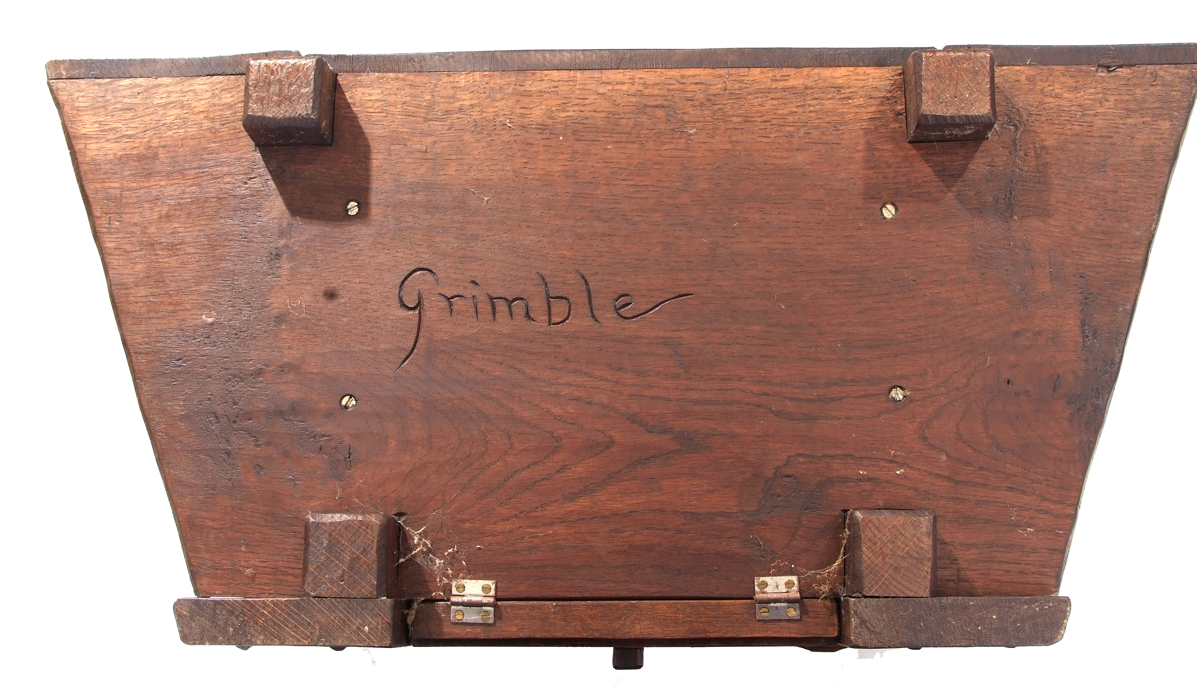 Jack Grimble of Cromer, a small oak losenge shaped side table with carved Tudor Rose detail 76cm - Image 10 of 10