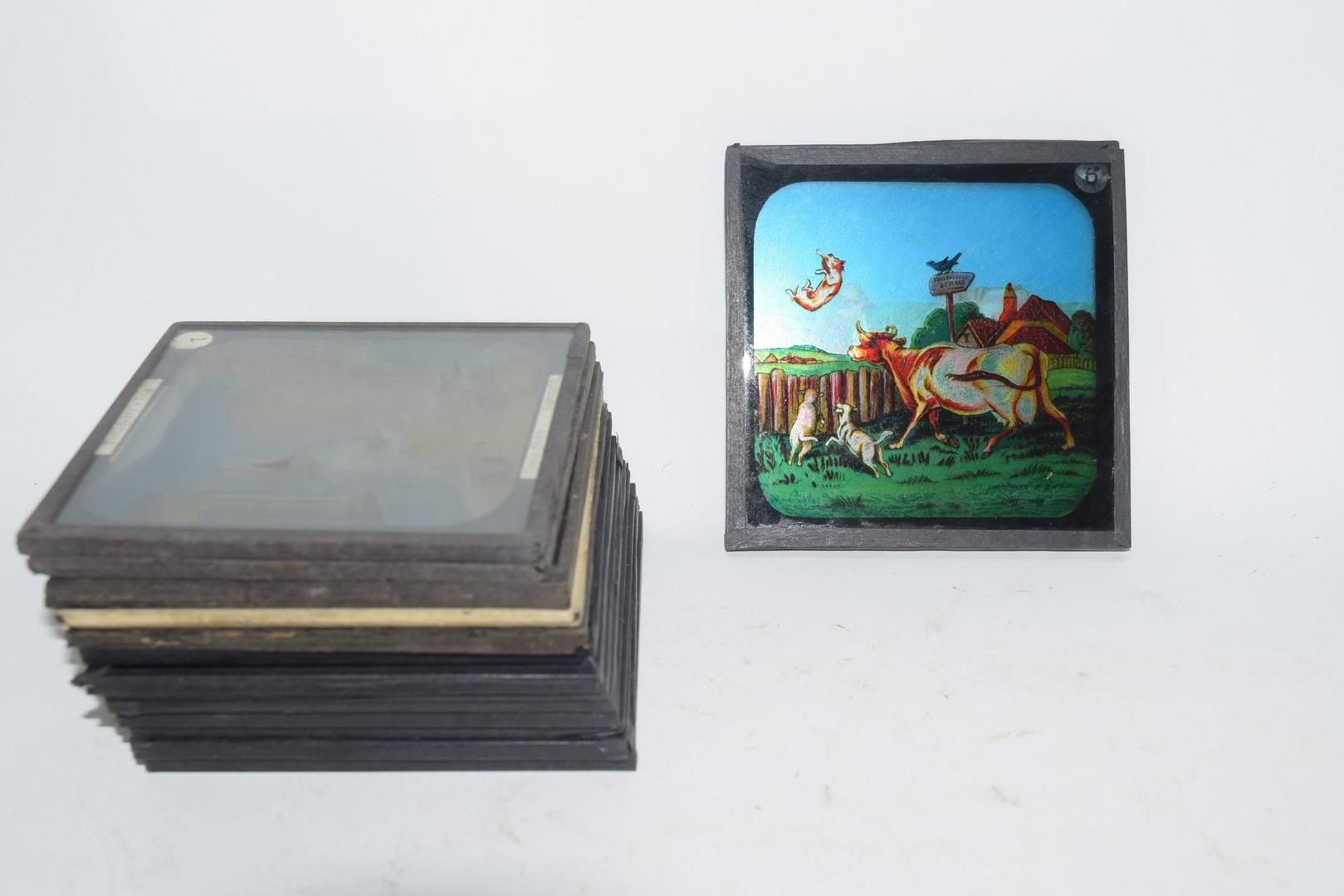 Box containing 15 magic lantern slides