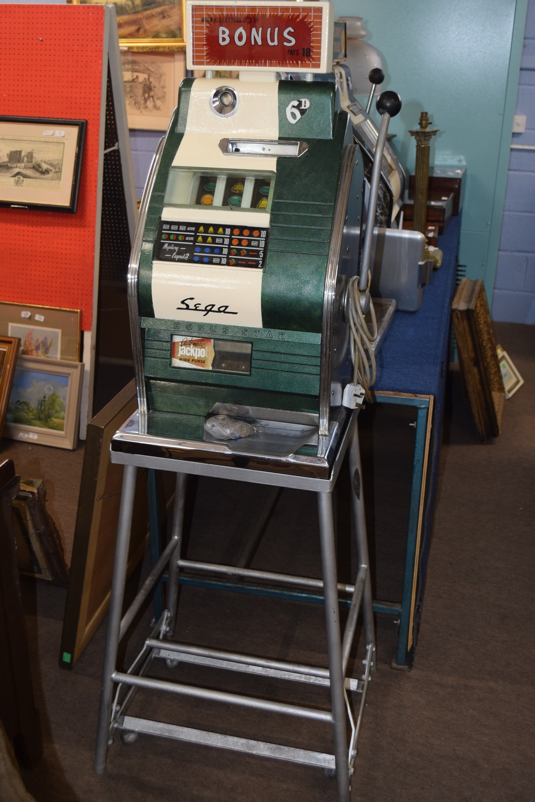 Bonus Star by Sega one-armed bandit fruit machine with electric light-up, approx 80cm high, together - Image 2 of 11