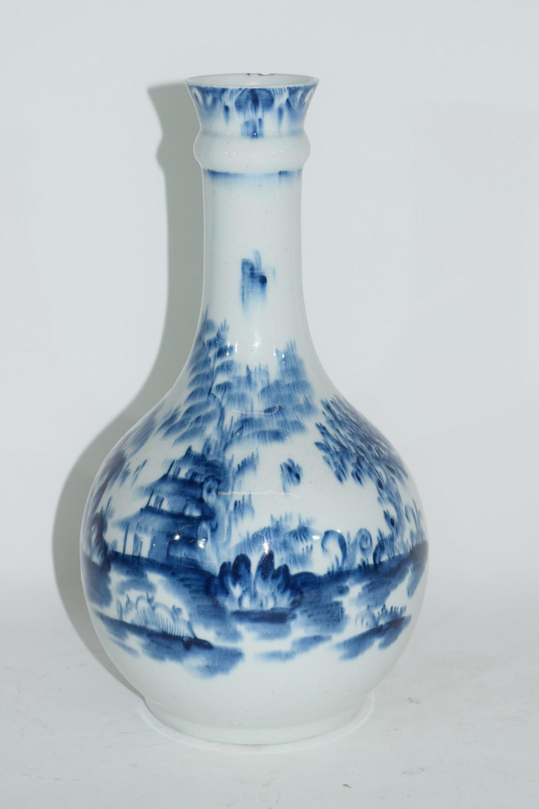 Lowestoft porcelain guglet or water bottle - Image 2 of 7