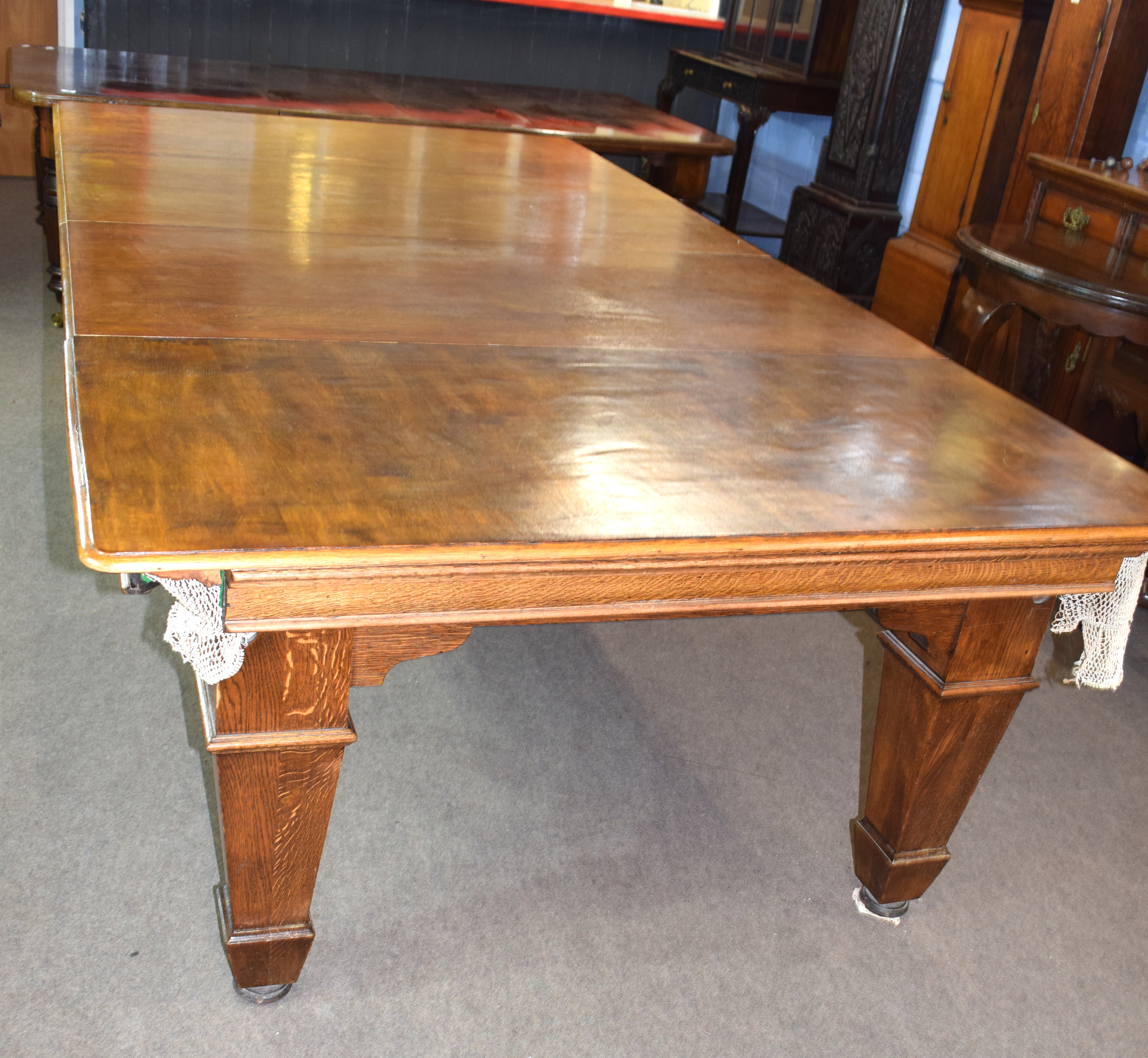 Oak frame and slate bed, quarter size snooker table with leaves adapting it to a dining table - Image 4 of 6