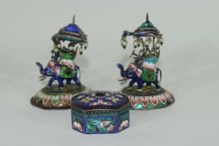 Two enamel Indian elephants with howdahs and a pill box